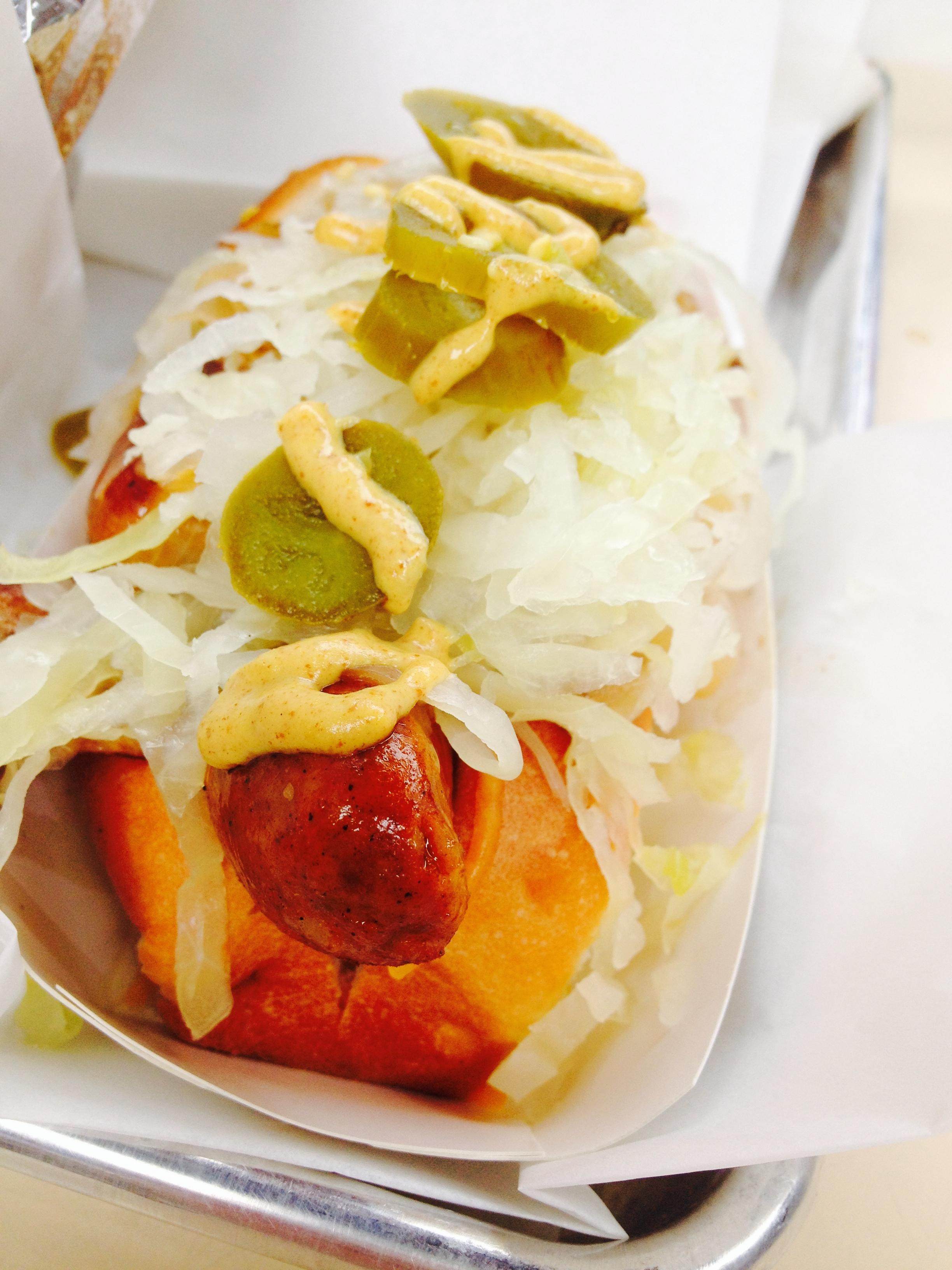 The all Beef Sauerkraut Dog on an original bun with sauerkraut with Dijon mustard (and added  jalapeño s!)