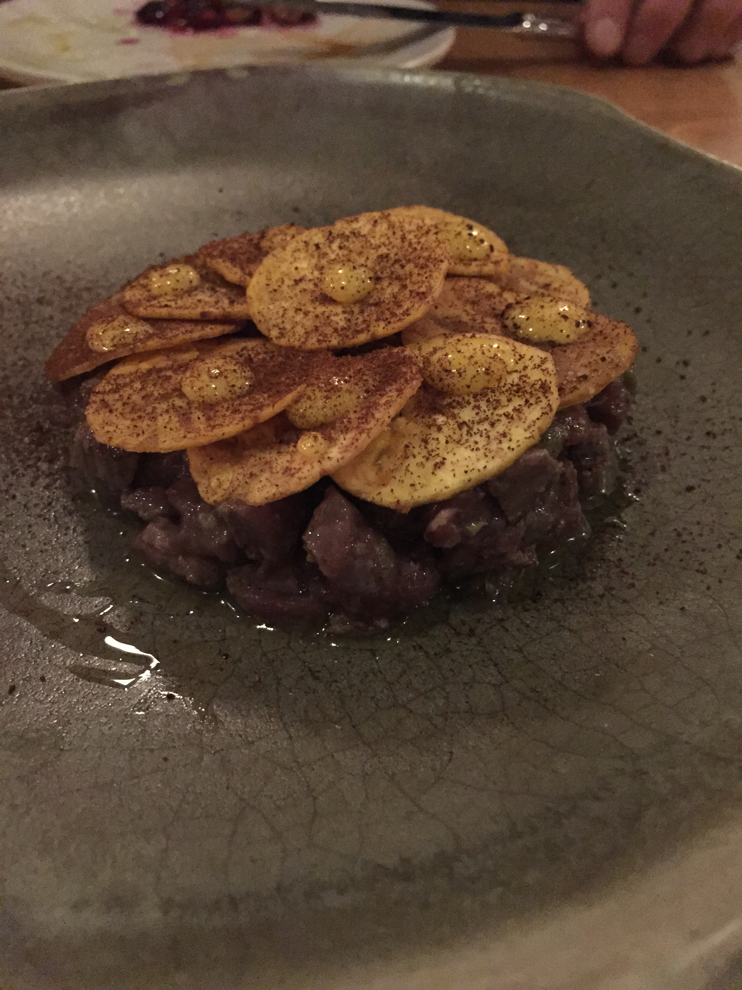 Venison Tartare with Plantains at TBD    Restaurant