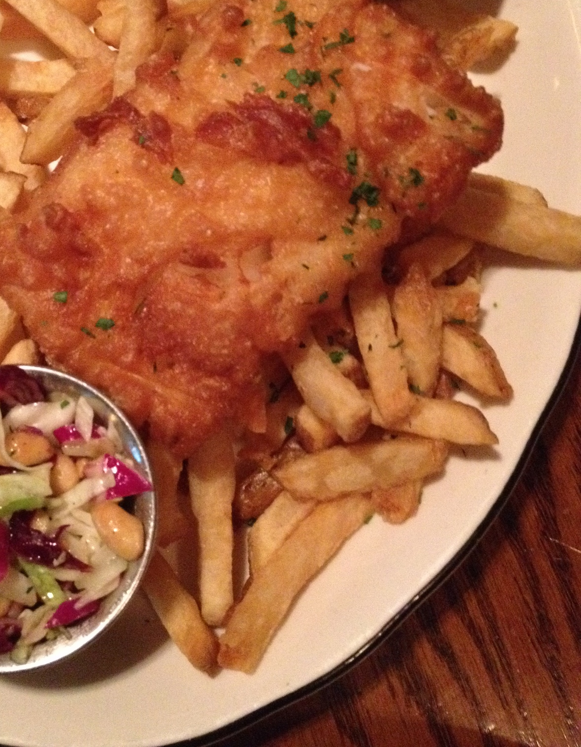 FISH AND CHIPSlocally caught cod, hand-cut beef fat fries,peanut coleslaw, and house-made tartar sauce