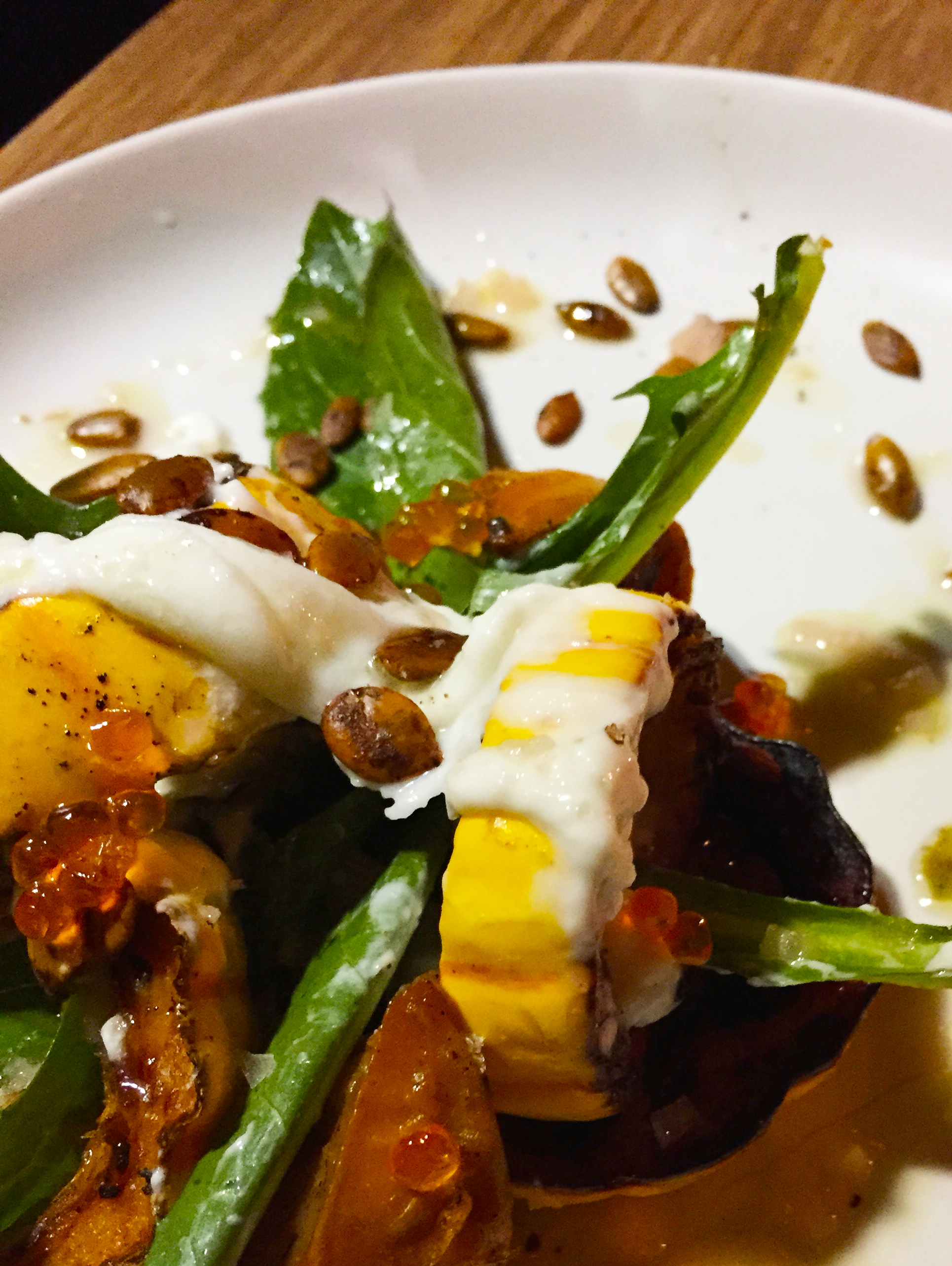 Delicata Squash with persimmon, burrata, smoked trout roe, and roasted squash seeds.