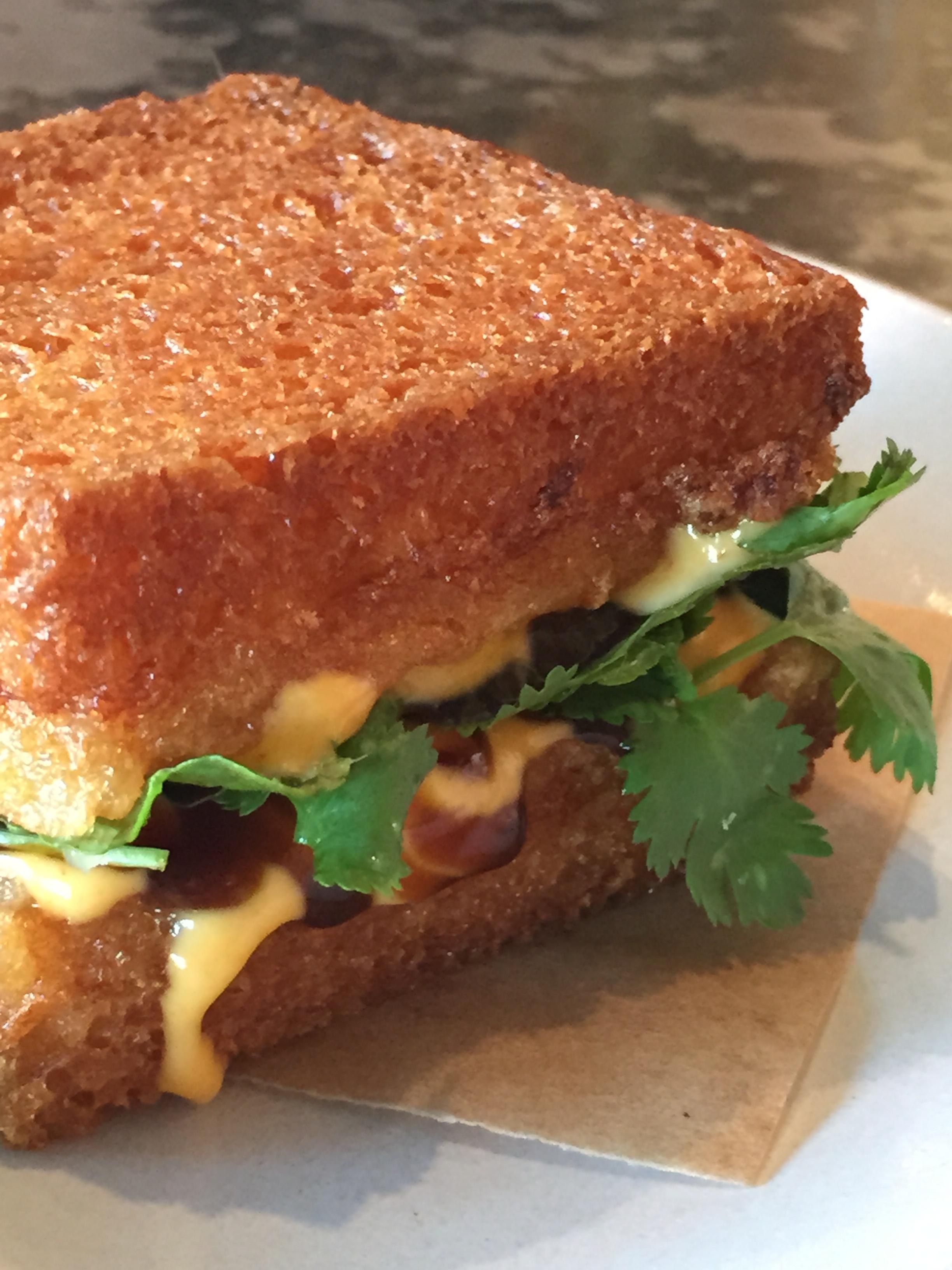 Shrimp Toast Sandwich with Herbs and Sriracha Mayo.