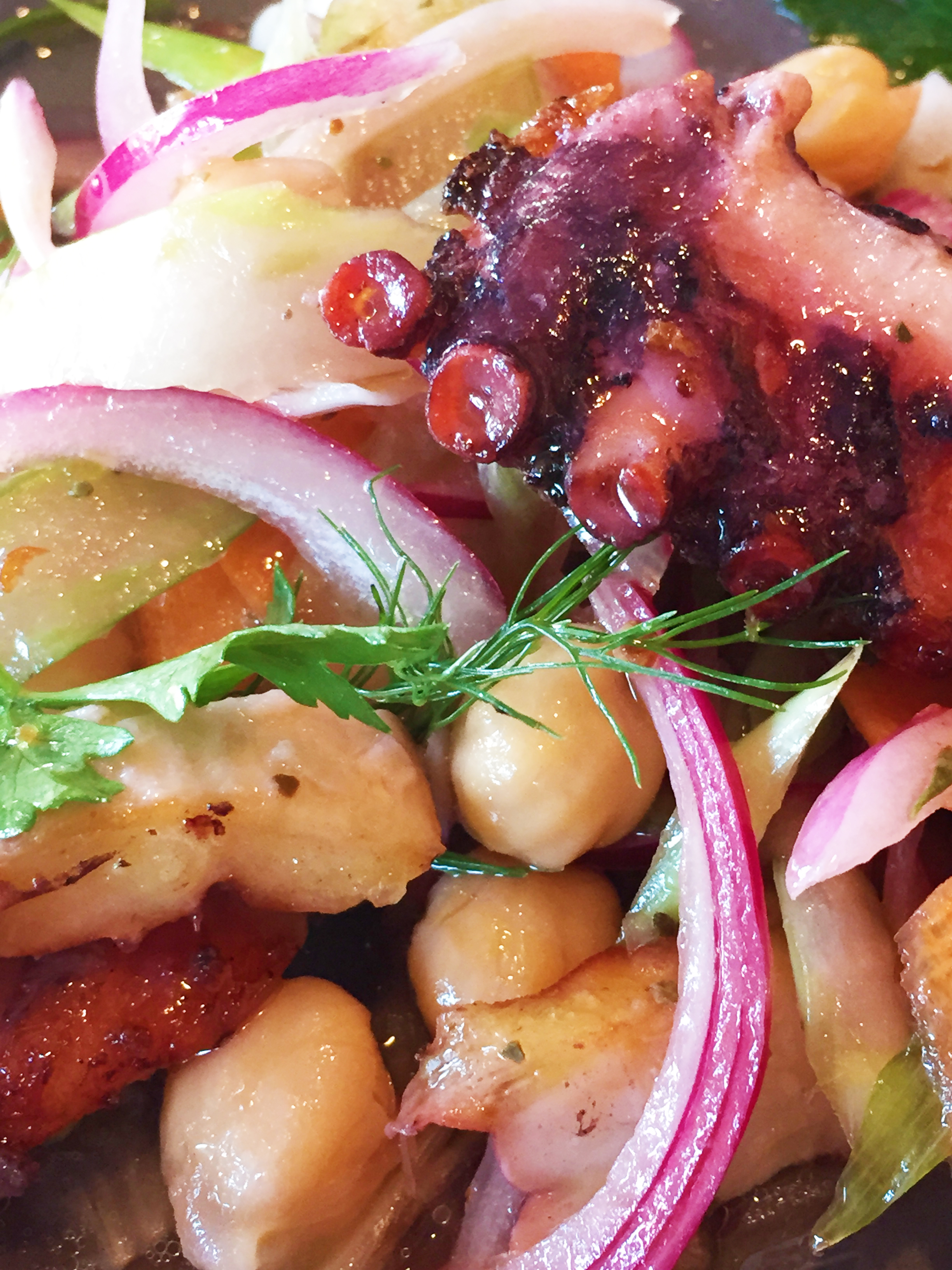 Seared Octopus Salad with Mirepoix and Chili.