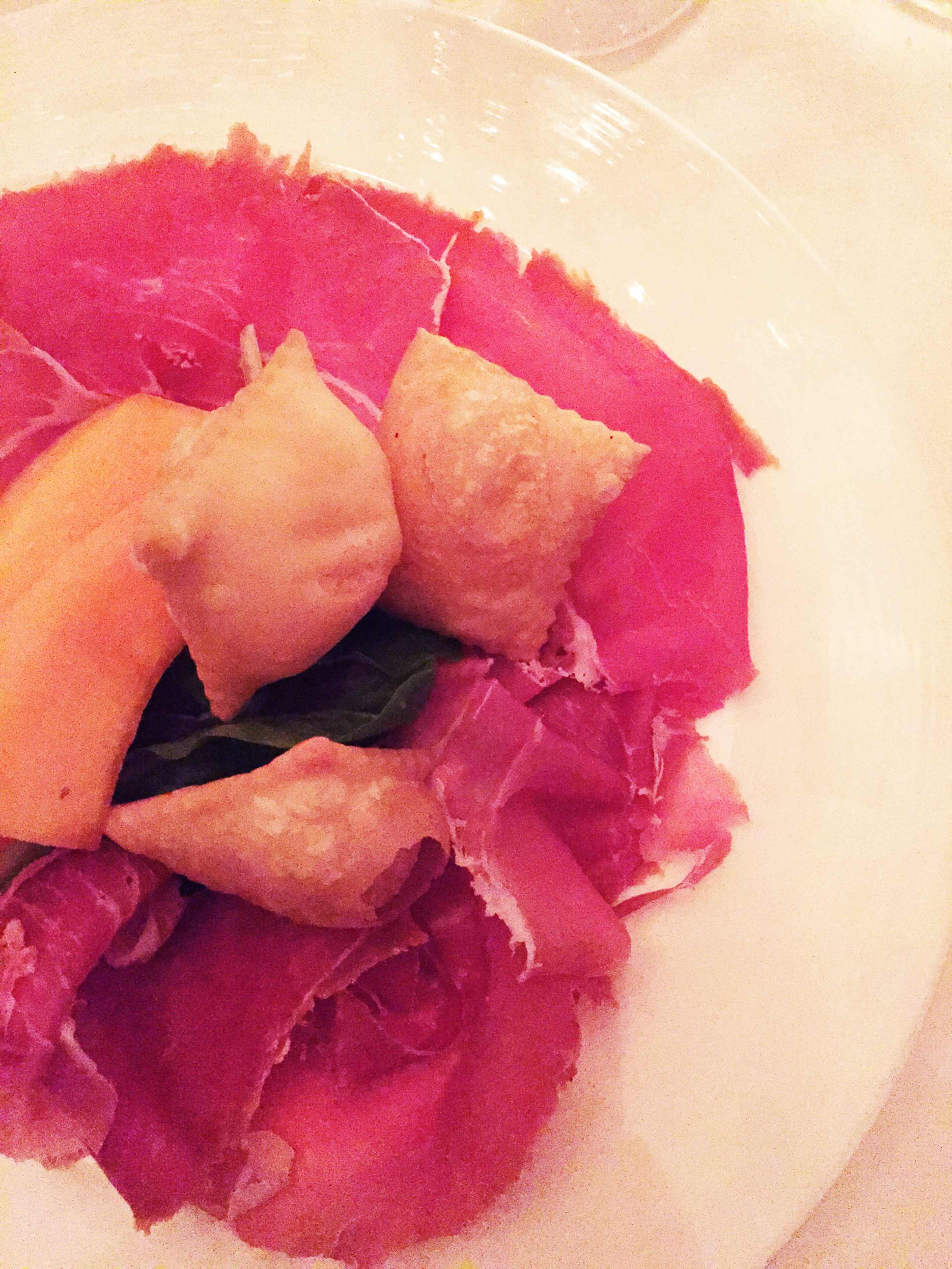 24 months aged Prosciutto di Parma withseasonal fruit and gnocco fritto