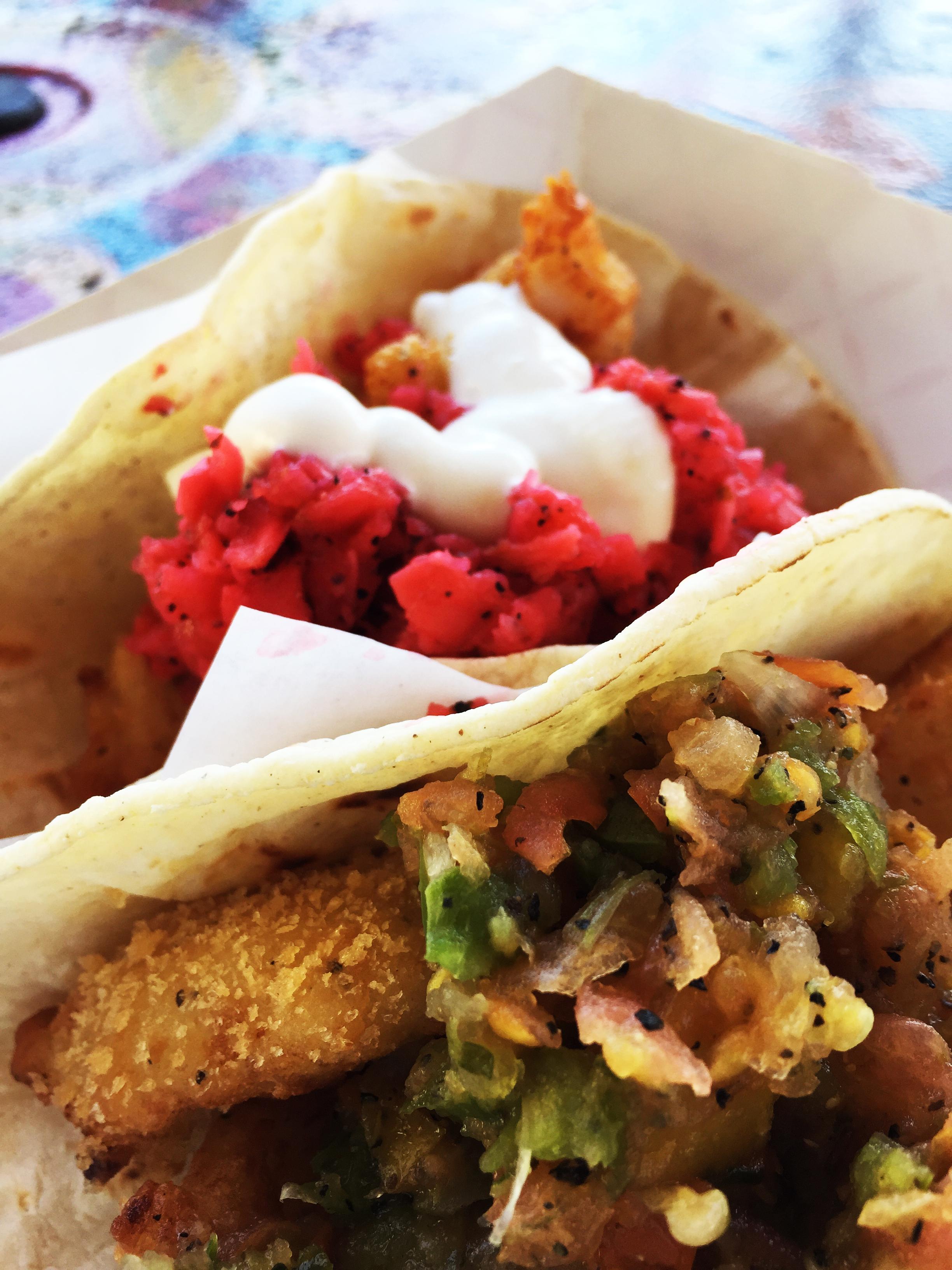 (front) Shrimp Taco with Pineapple Kiss Salsa and (back) Fish Taco with Radish Relish Salsa.