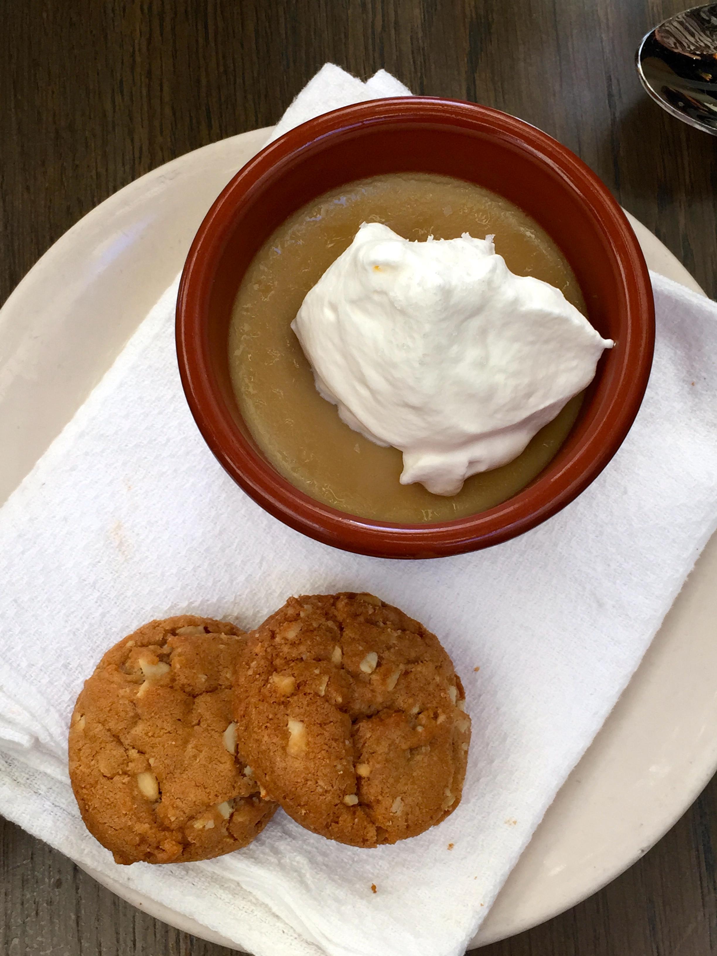 Butterscotch pot de crème with fleur de sel & salted cashew cookies.