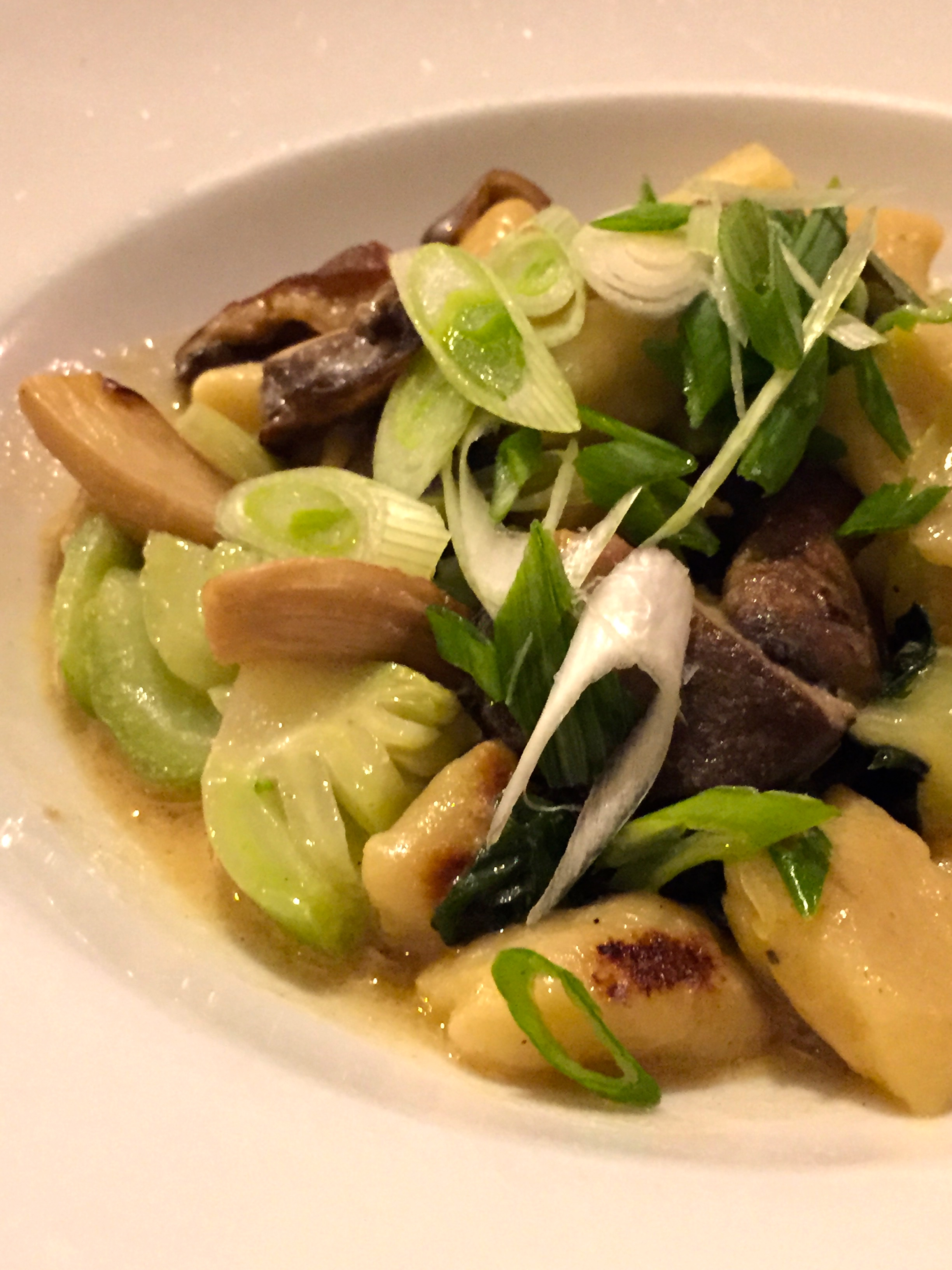 Green Zebra -  Toasted Sesame Gnocchi with baby bok choy, wild mushrooms, and Chinese mustard.