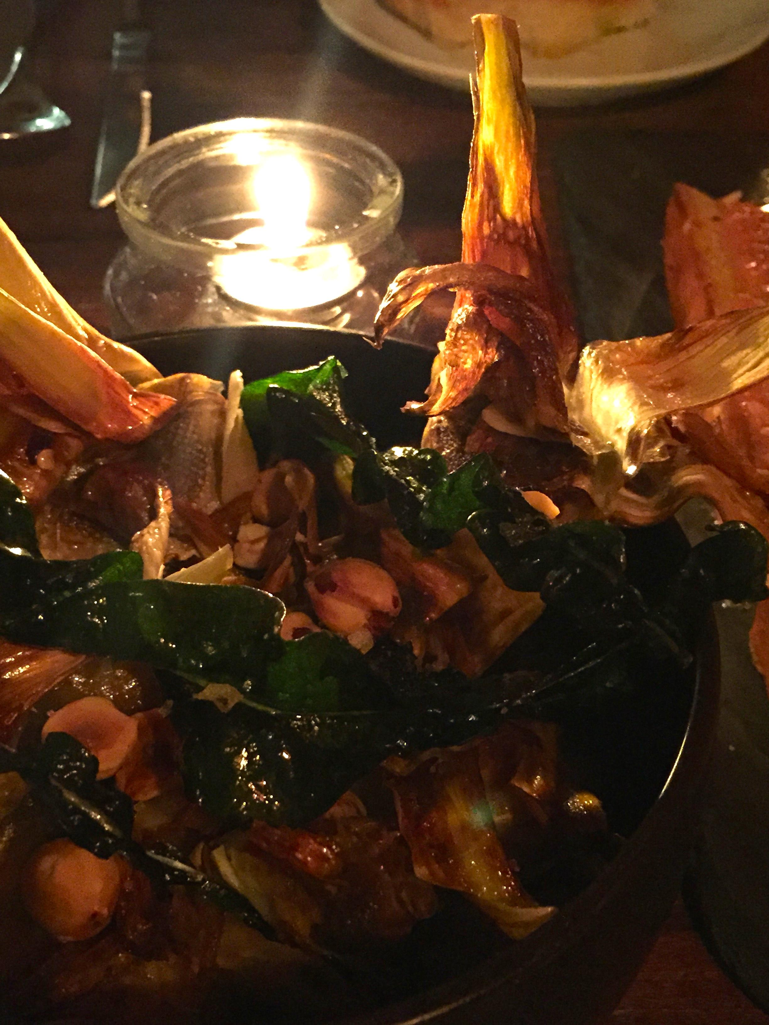 CARXOFES - caramelized globe artichokes and collard kohlrabi, hazelnuts, garlic, and spicy chili