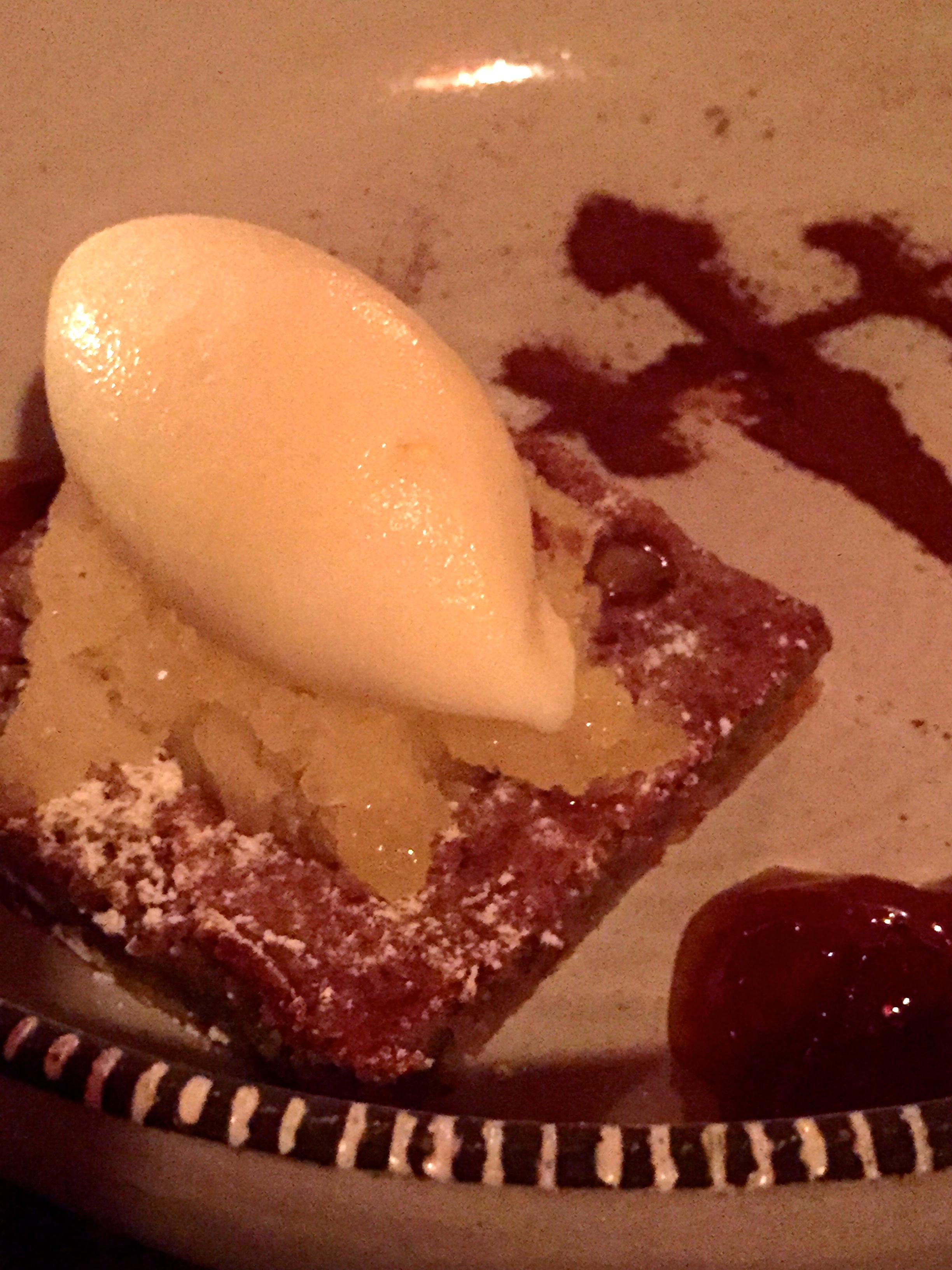 LA TARTA PERFECTA - marcona almond Santiago tart homage, lime granita, almond ice cream
