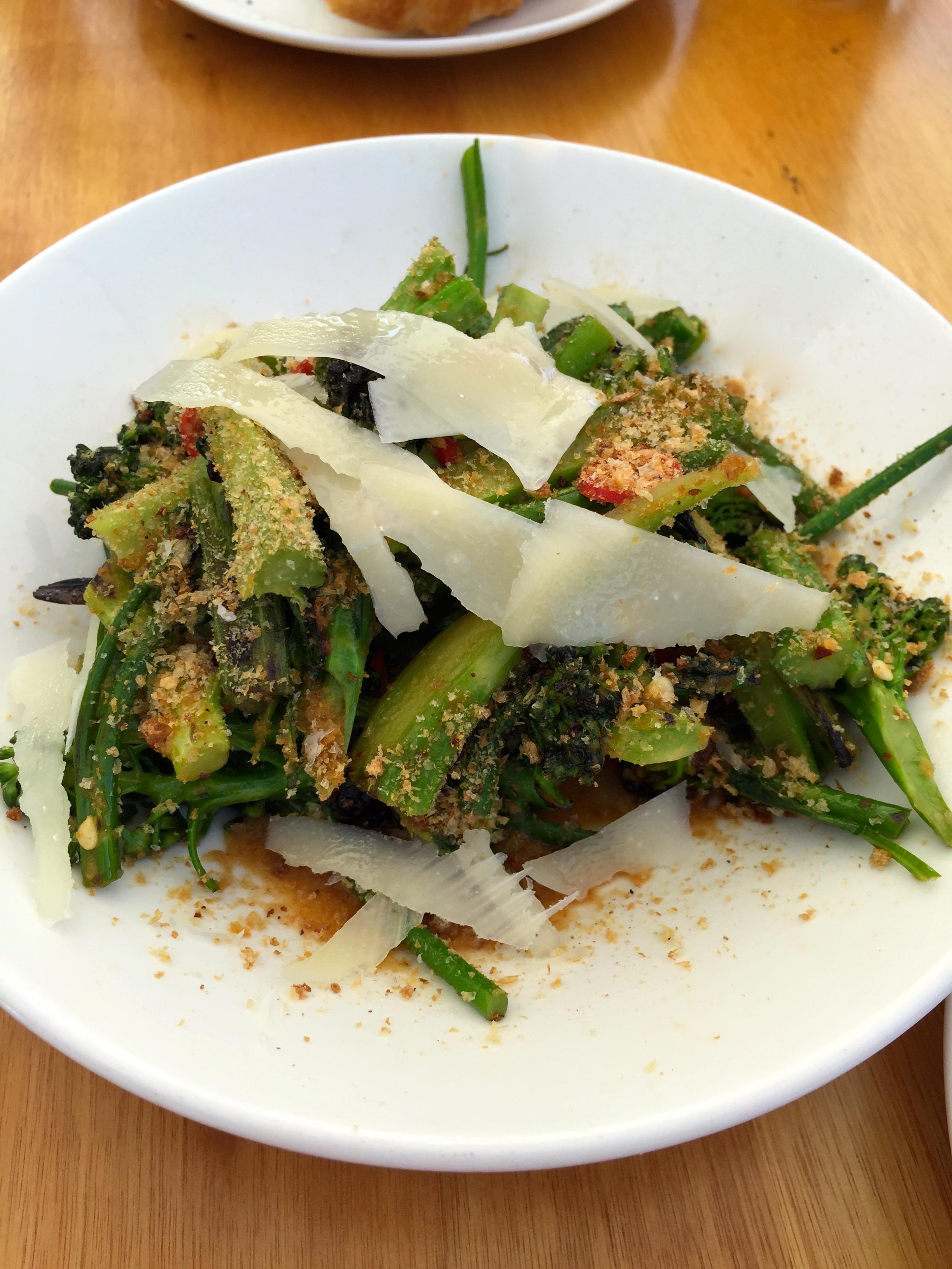 Sprouting broccoli, garlic, pickled chillis, pecorino romano, and breadcrumbs.
