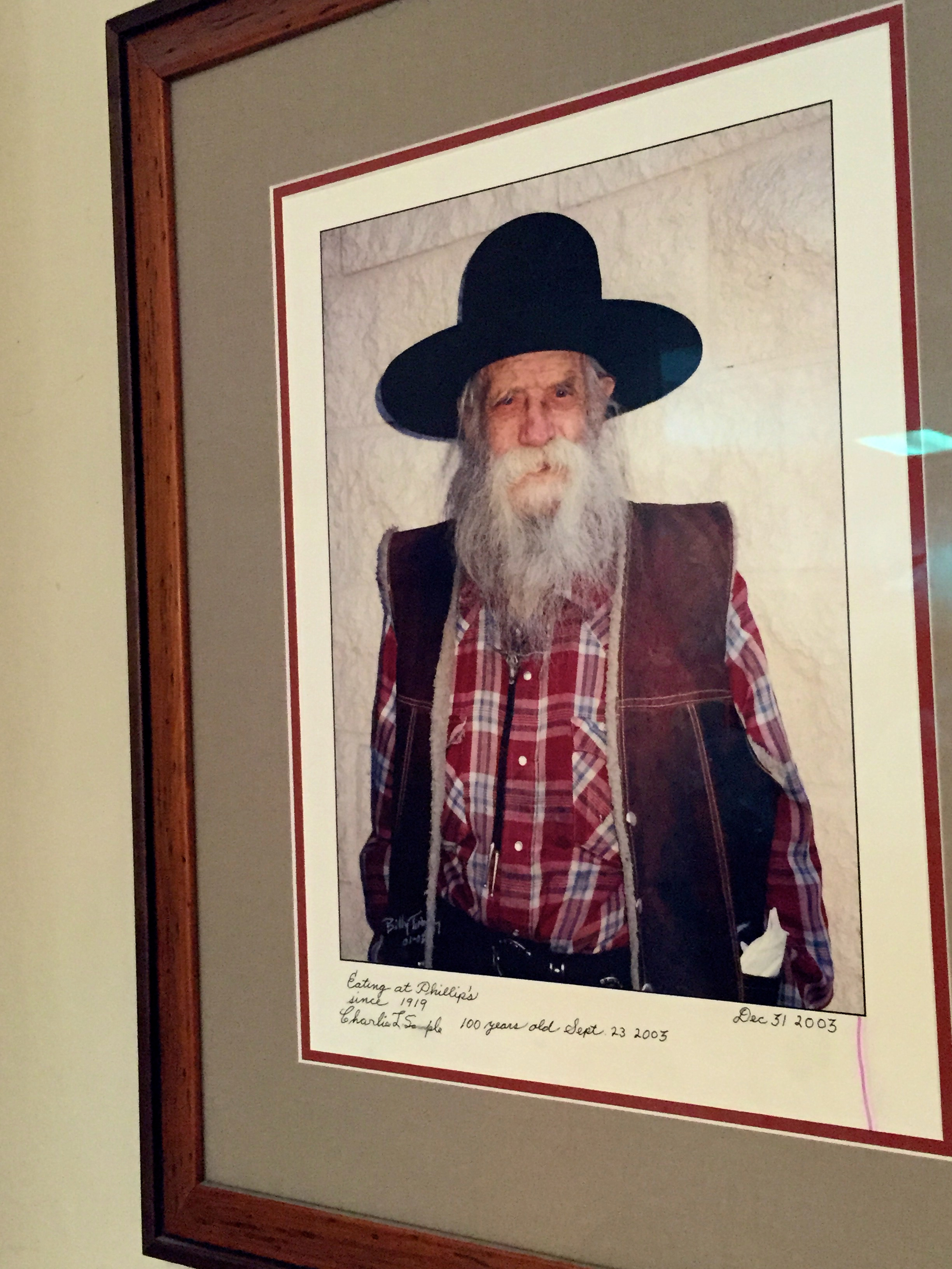 """""""Eating at Philippe's since 1919. Charlie L. Sample. 100 years old Sept 23, 2003."""""""