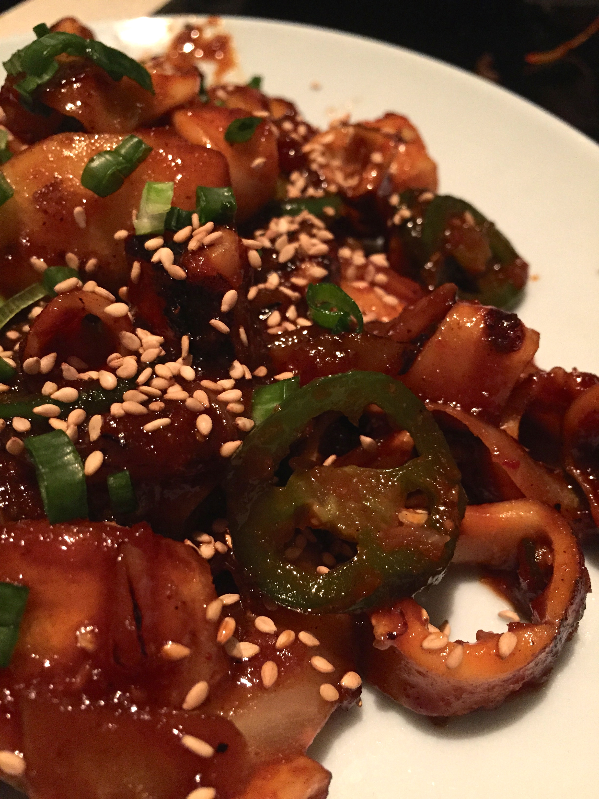 Squid.Spicy.Yum - grilled squid, rice cakes, and jalapeno.