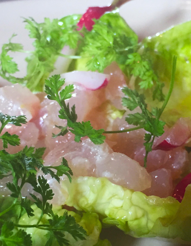 Local halibut tartare with Little Gems lettuce, avocado, and citrus vinaigrette.