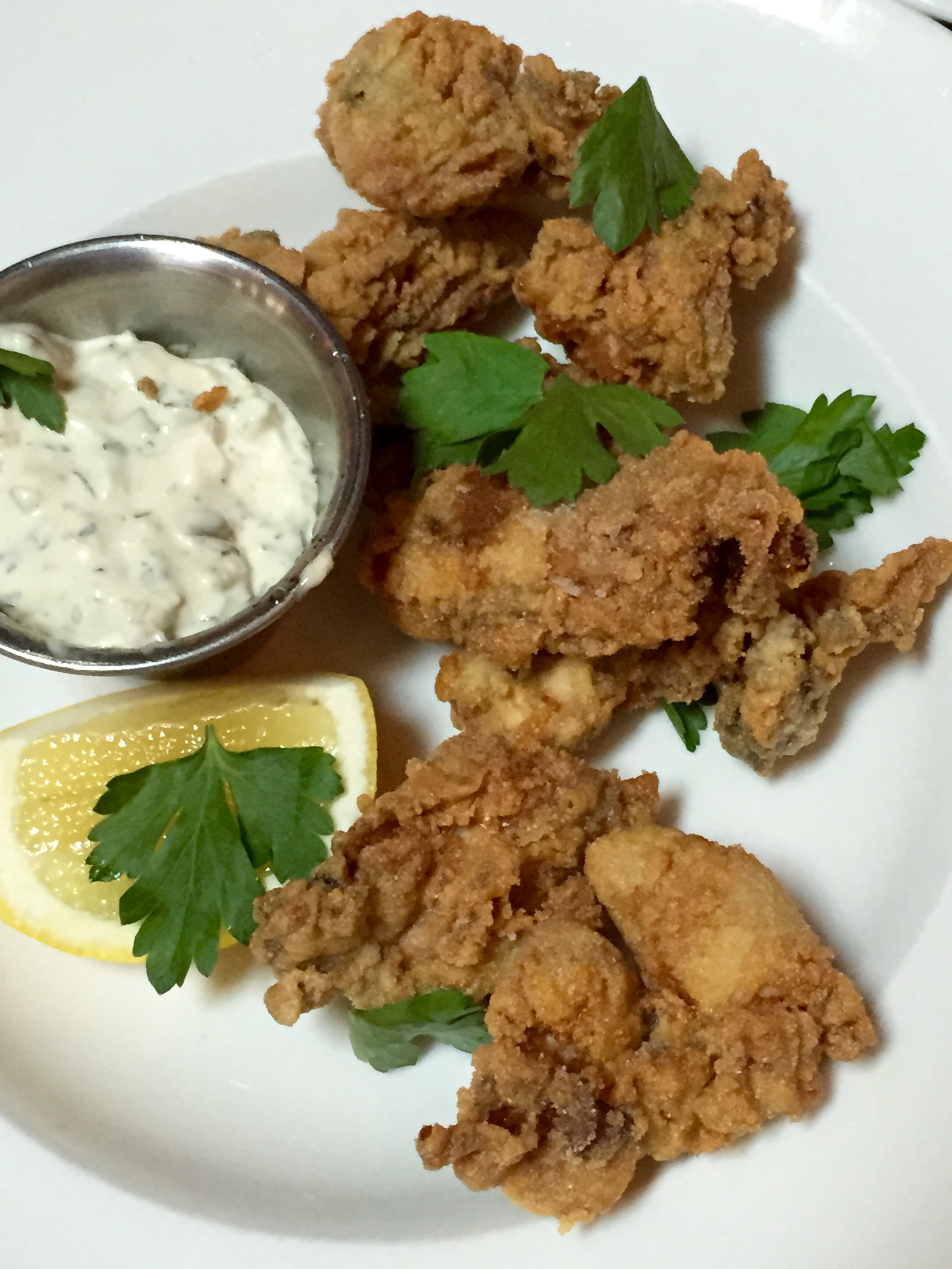 Crispy Oysters with sauce gribiche.