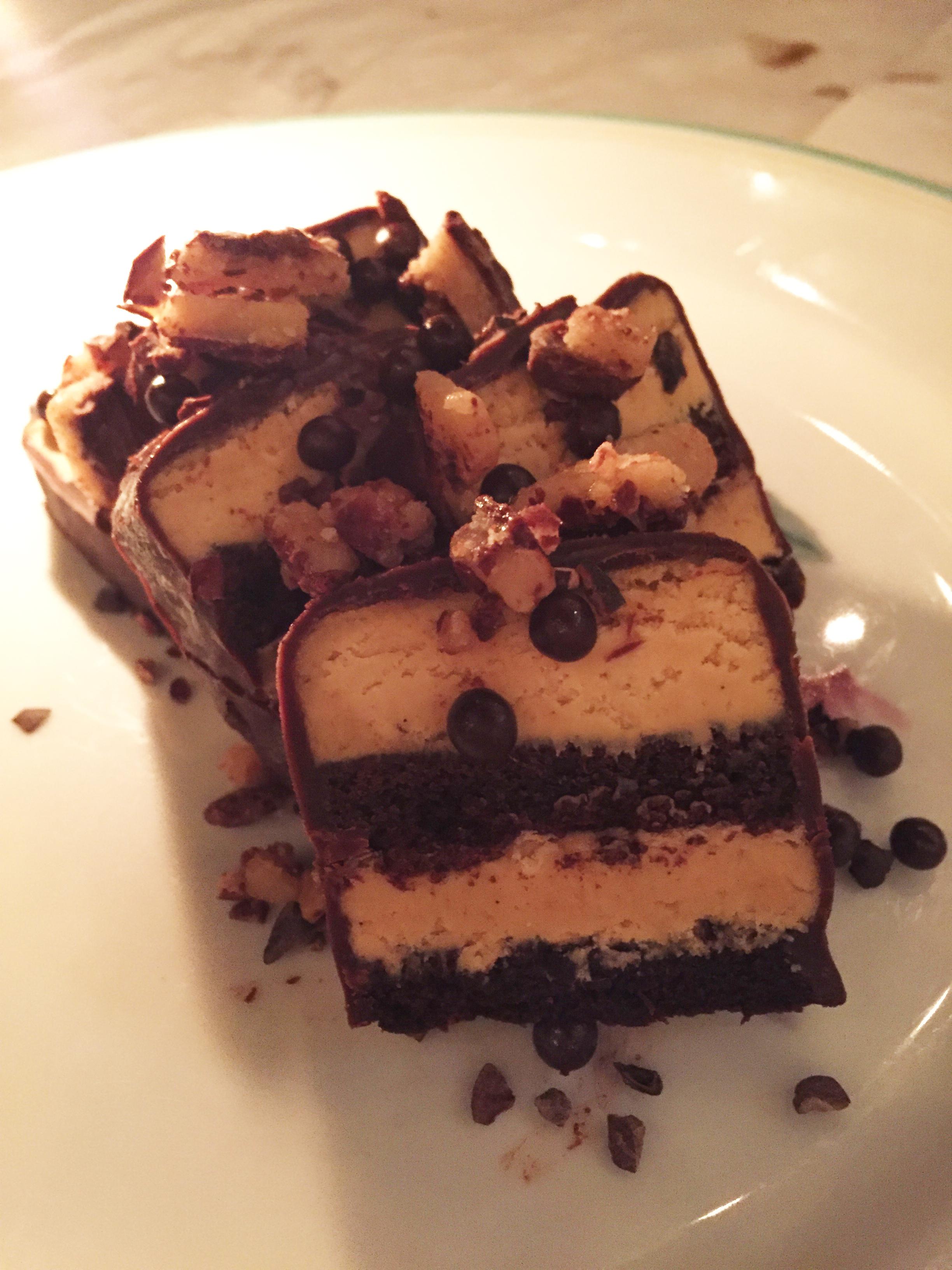 Birthday Cake with chocolate ganache, sea salt, caramel, and toffee.