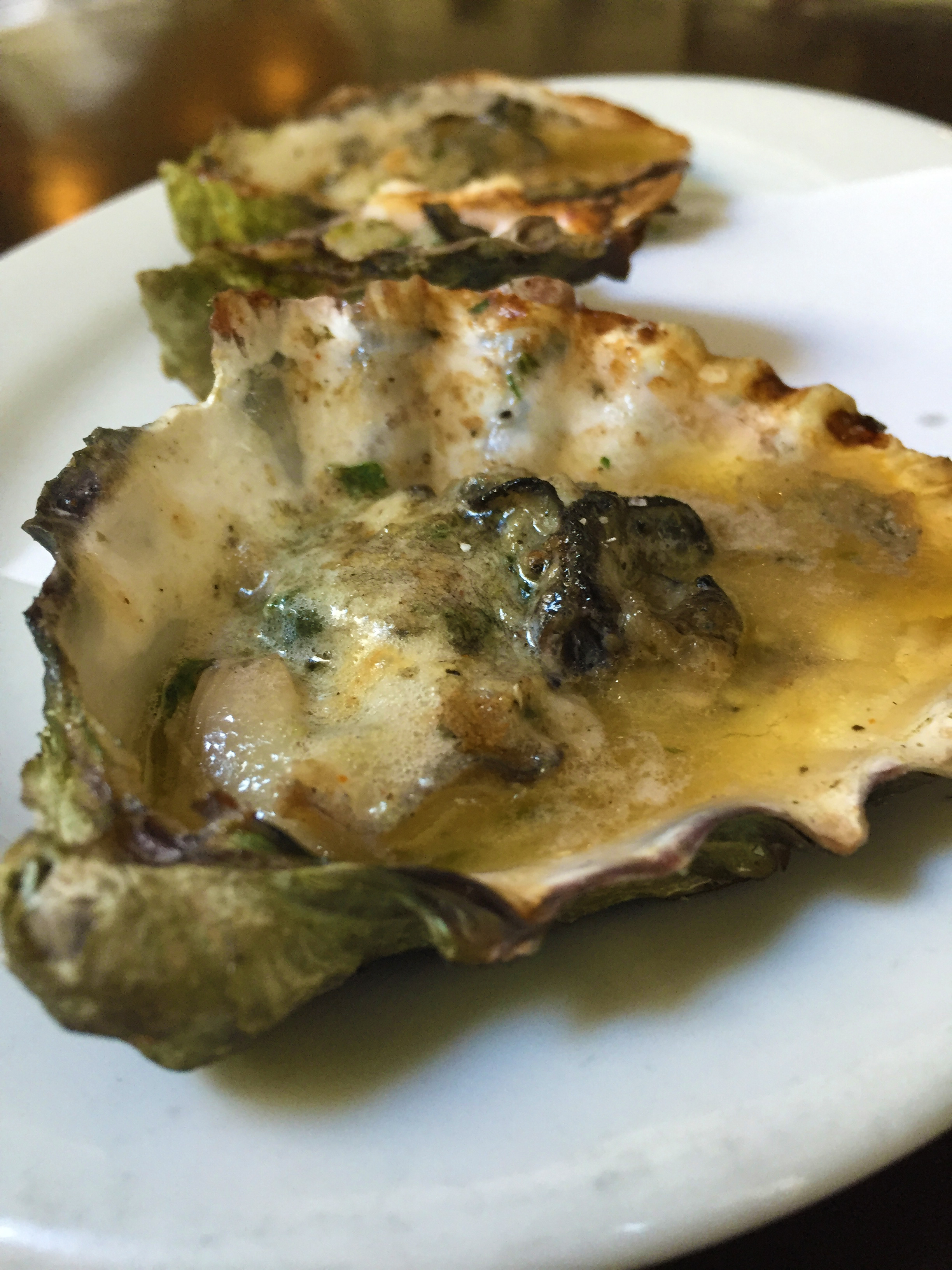 Grilled Oysters with garlic and parmesan butter.