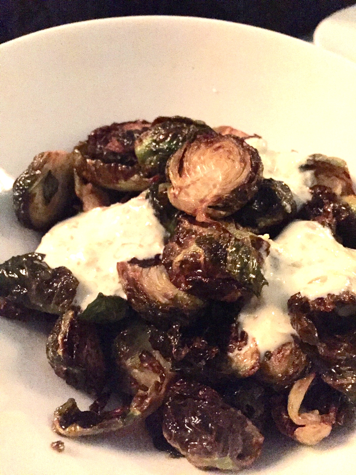 fried brussels srpouts with gribiche