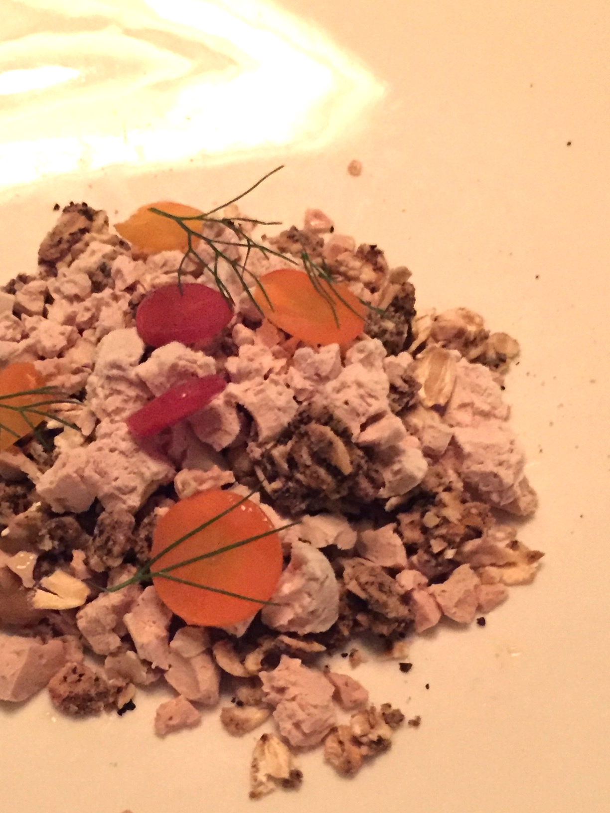 frozen duck liver with smoked maple, coffee granola & carrots