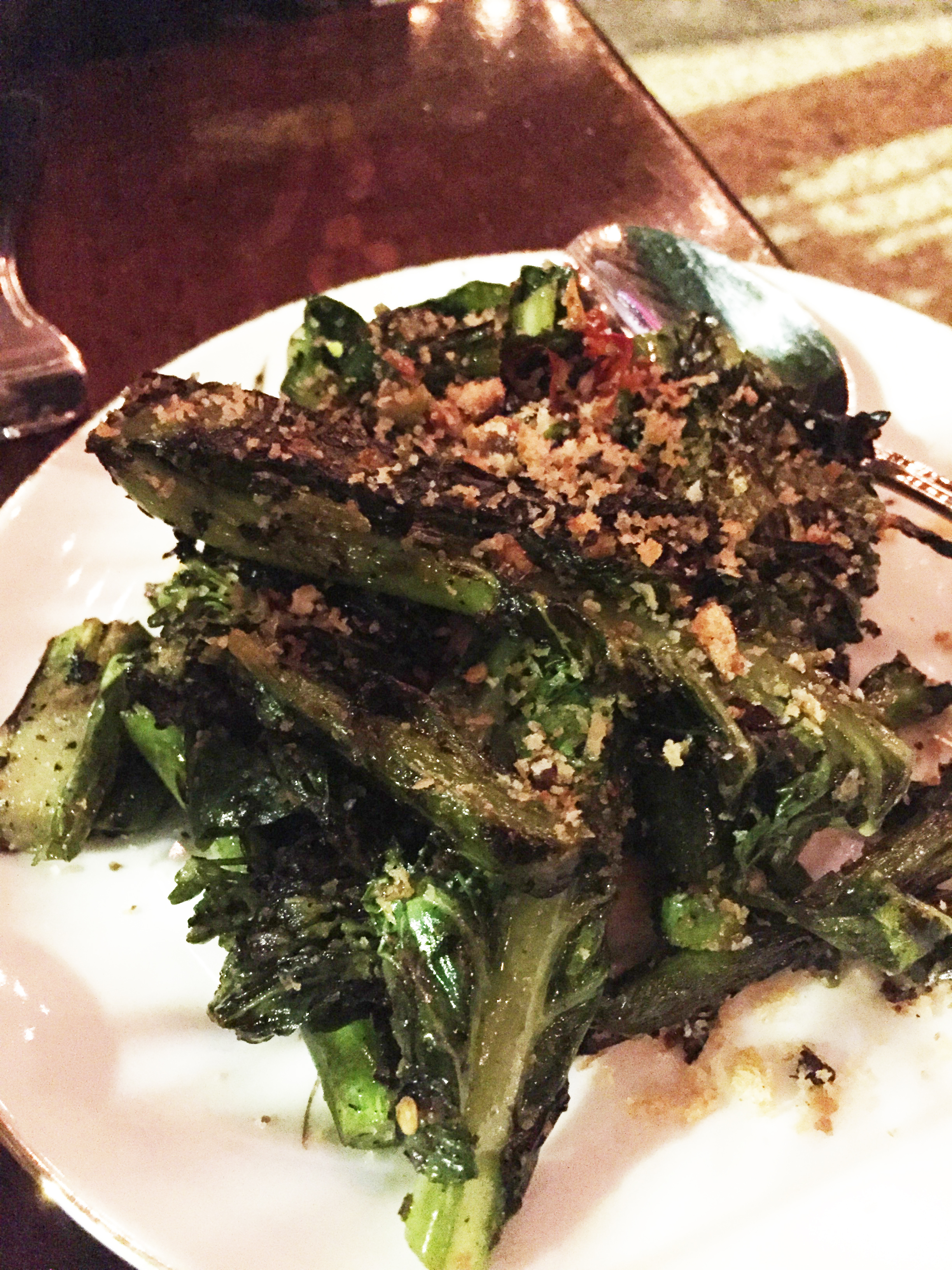 Grilled broccoli, calabrian chili, pickled garlic, mint.