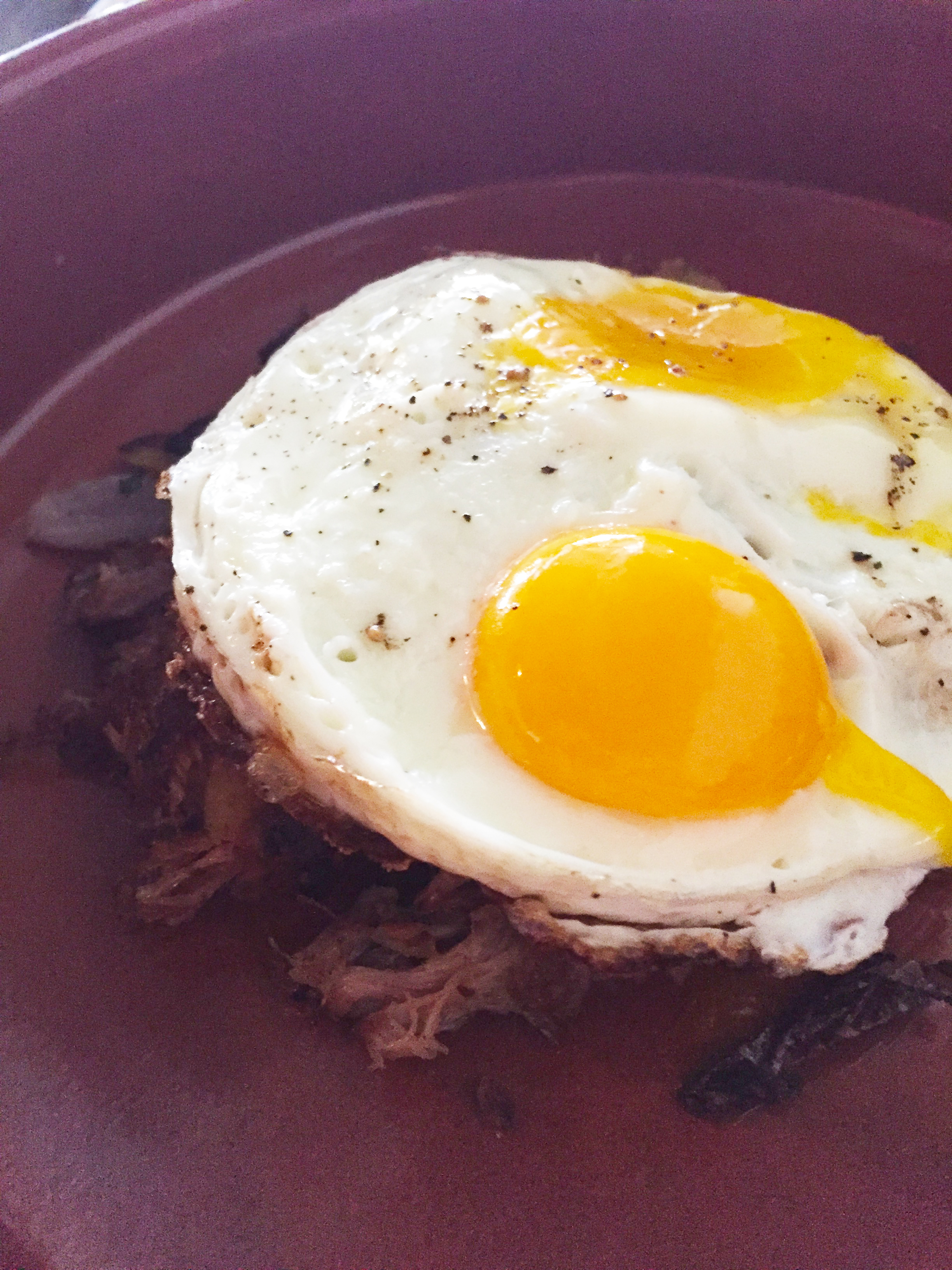 Pork Hash with fried eggs.