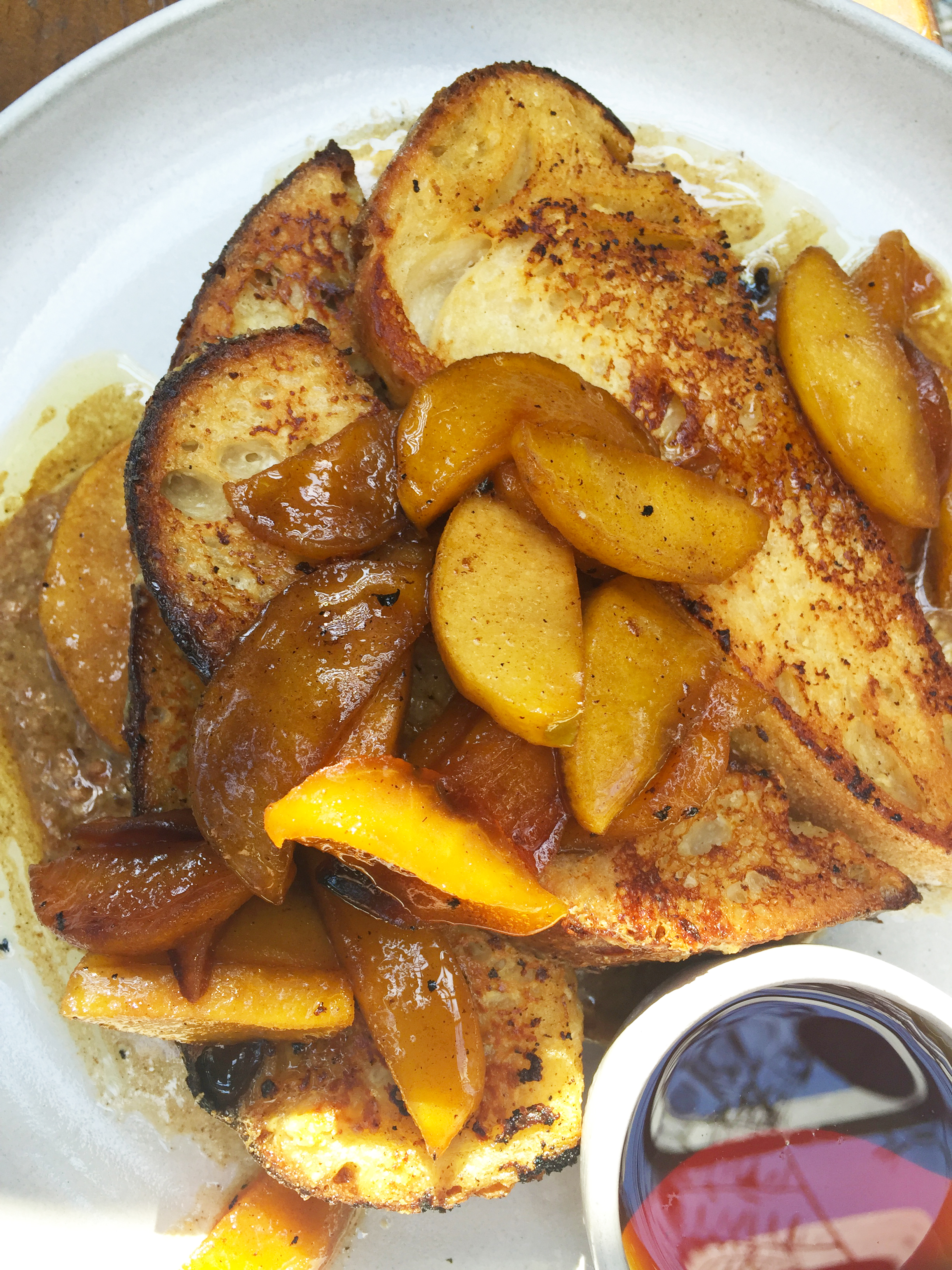 French Toast with pecan butter and roasted apples.
