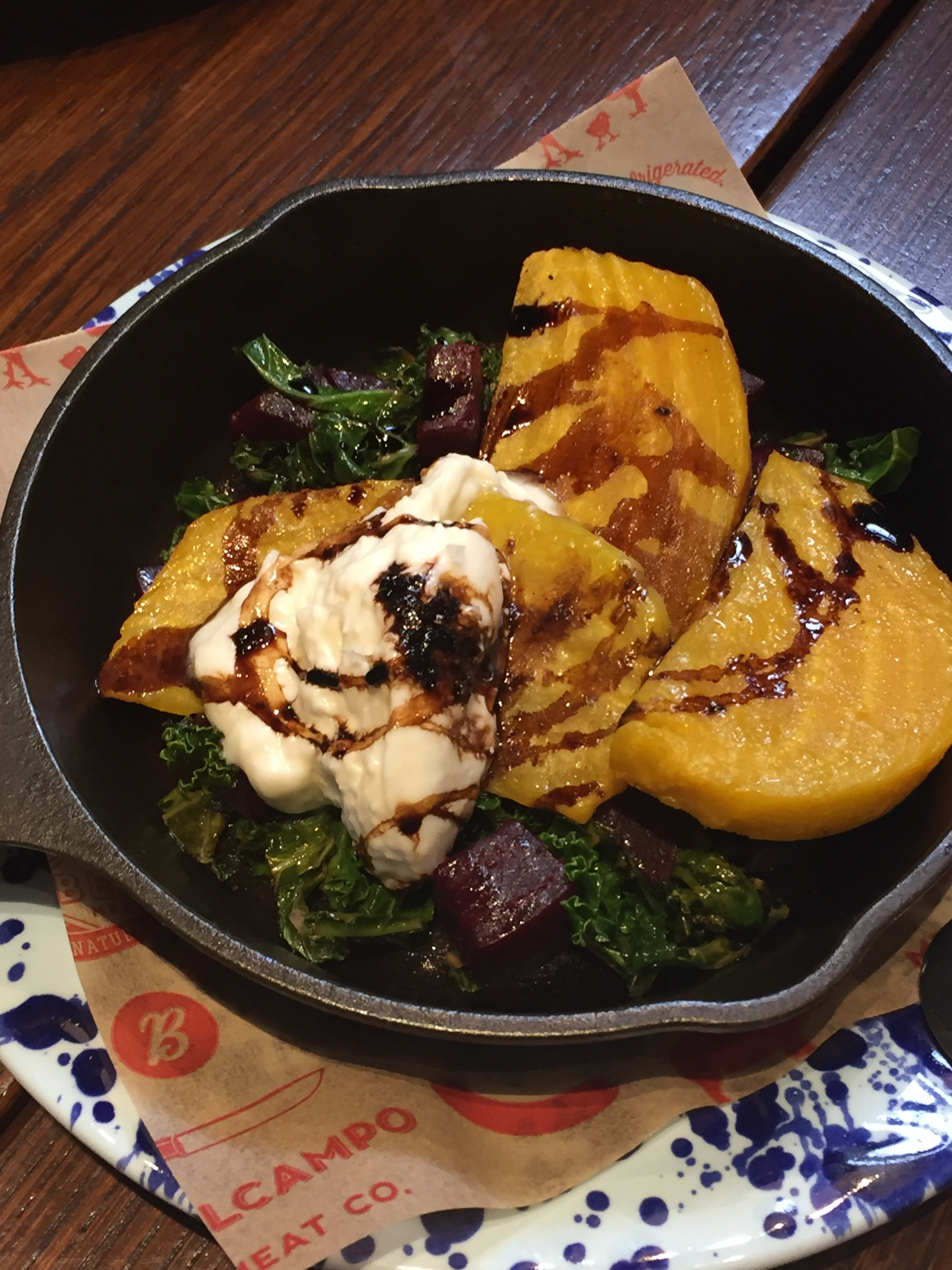 Roasted Red & Gold Beets with burrata, kale, and balsamic reduction.