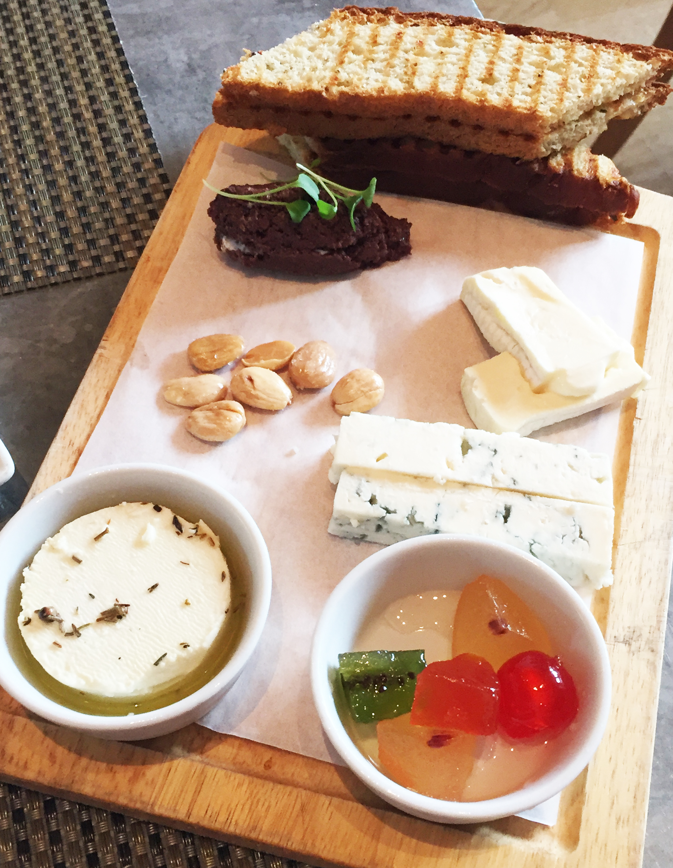 Cheese Board | assortment of 3 cheeses, F&O tapenade , fruit aspic, marcona almond, toast