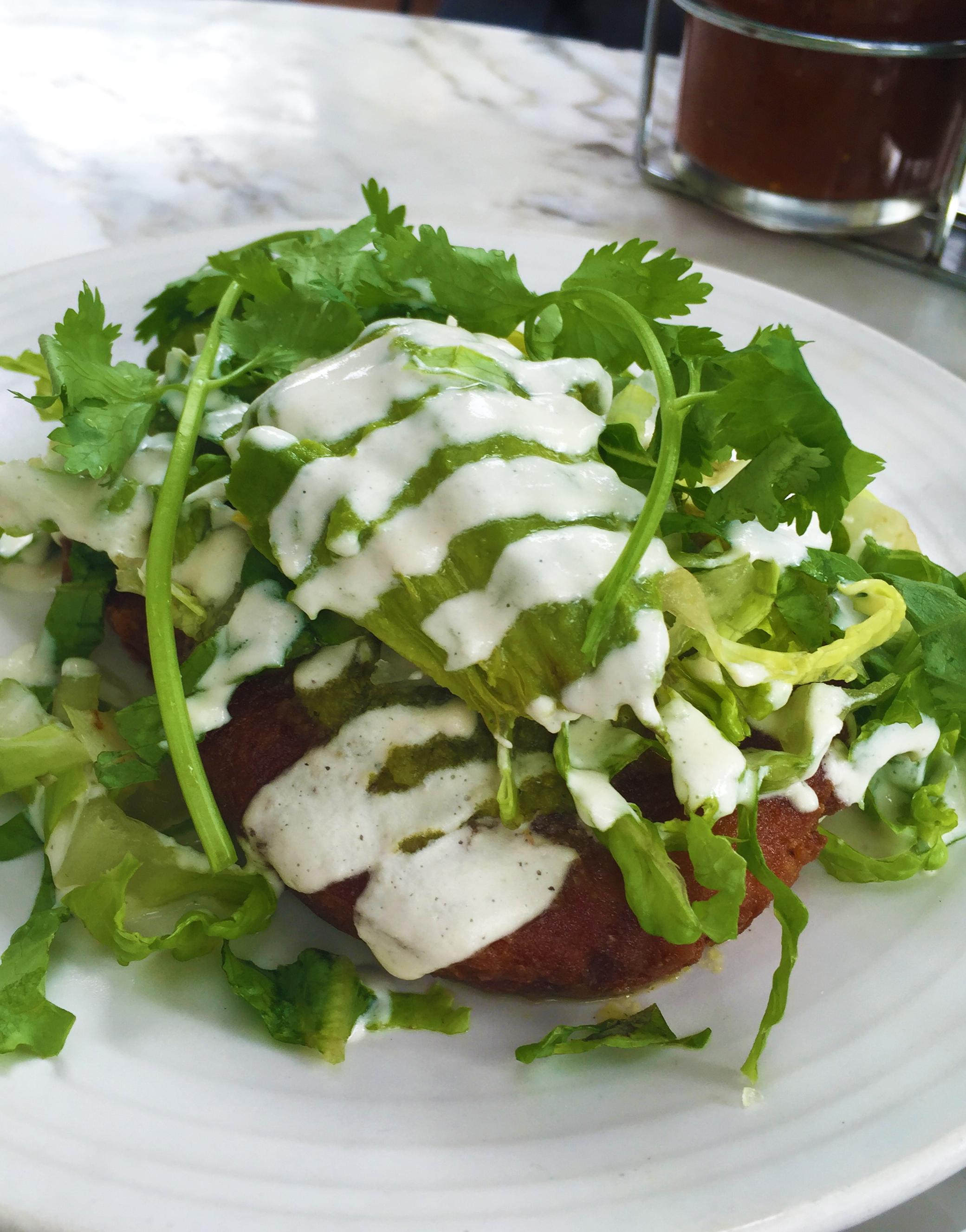 GORDITAS - potato-masa cakes - warm salsa verde - avocado - cashew crema