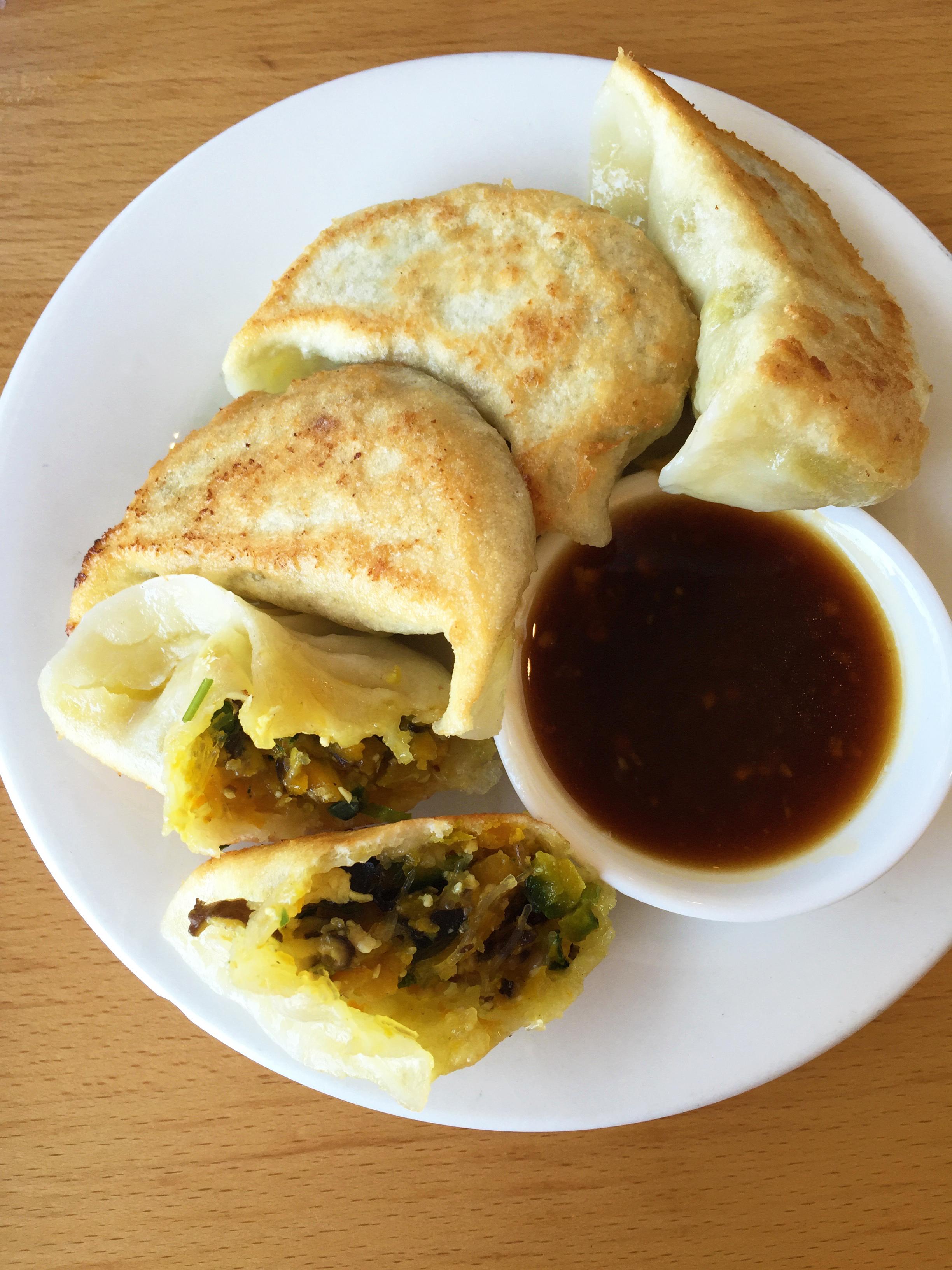 PUMPKIN POTSTICKERS - Kabocha, Shitake, Eggs, Bean Curd, Vermicelli.