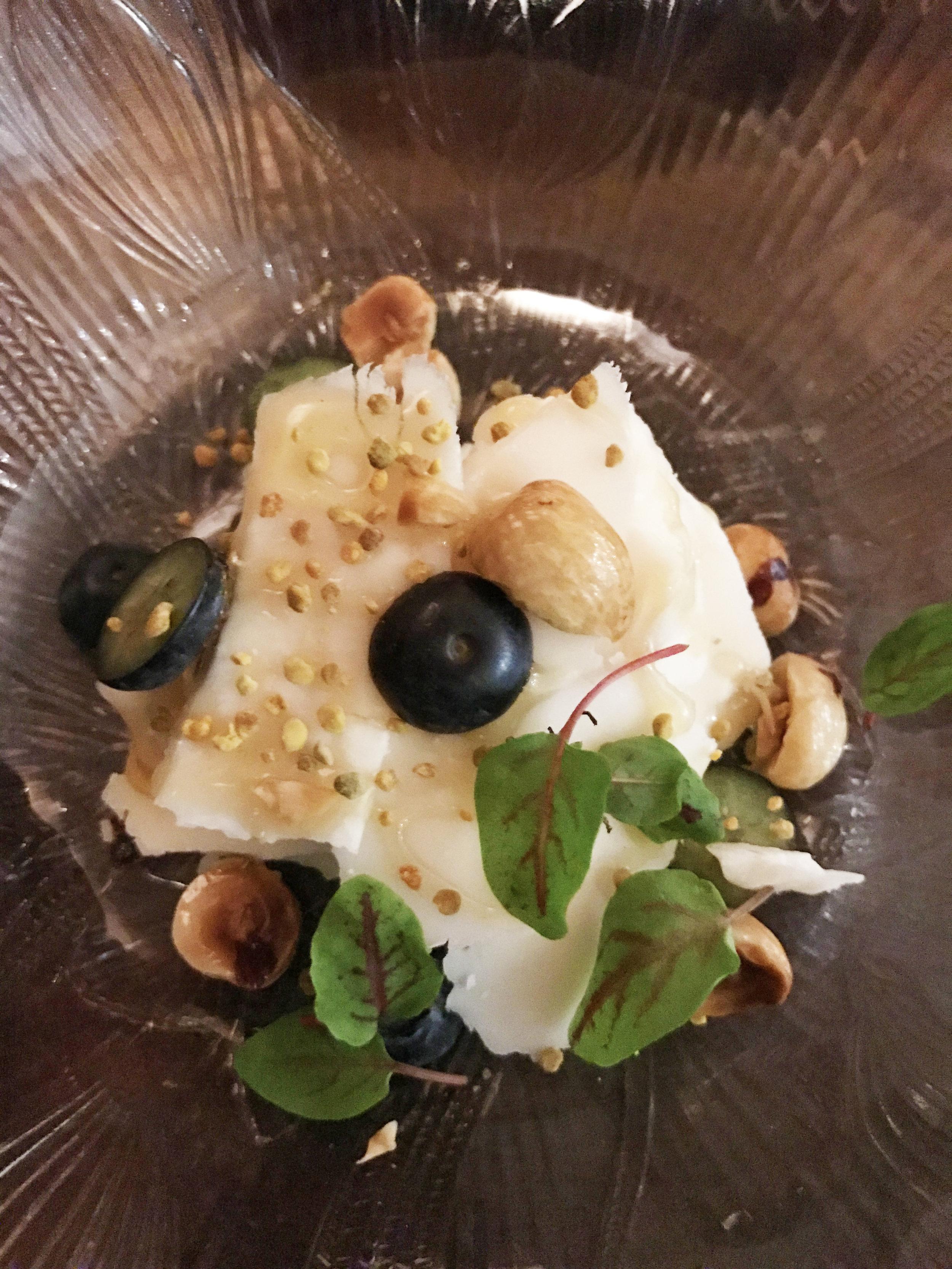 Brillat Savarin with blueberries and hazelnuts