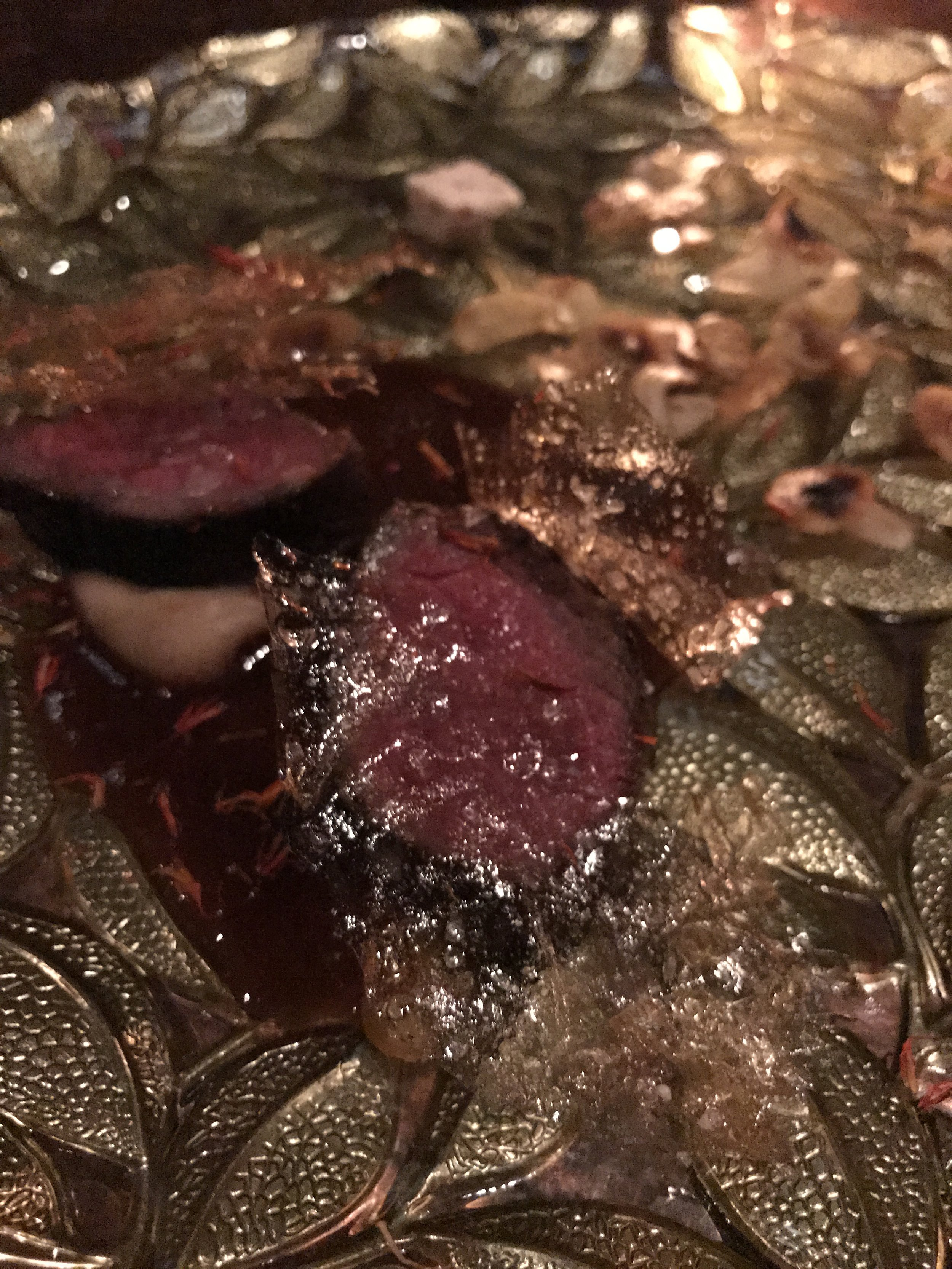 Venison with laurel,fried chestnuts, and a prune-and-date chestnut puree