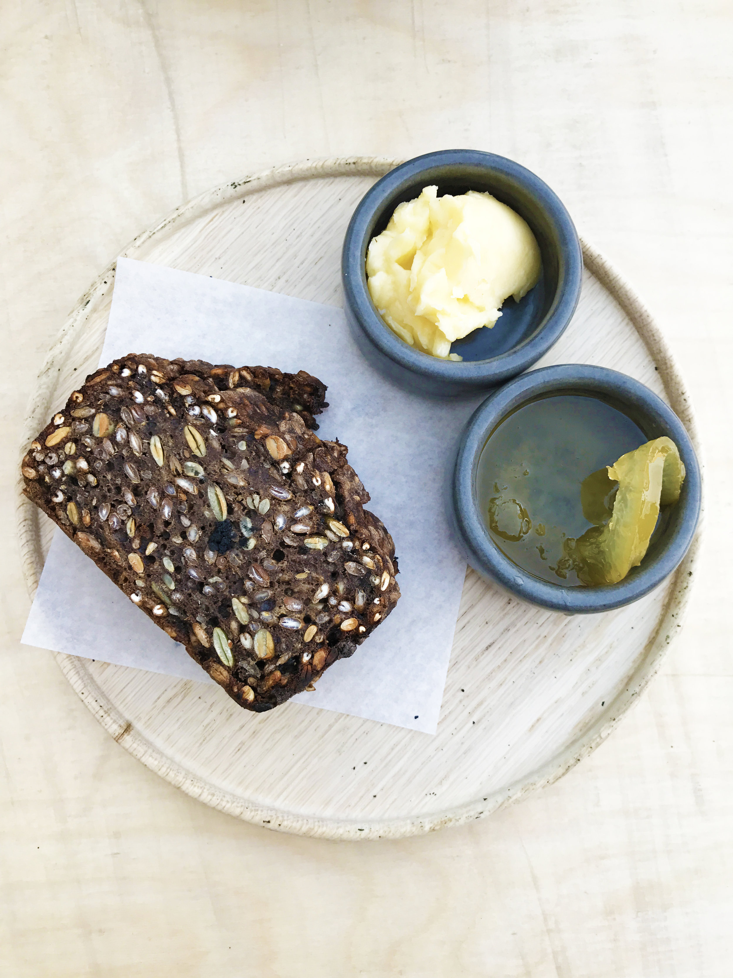 Icelandic rye bread, cultured butter, preserves