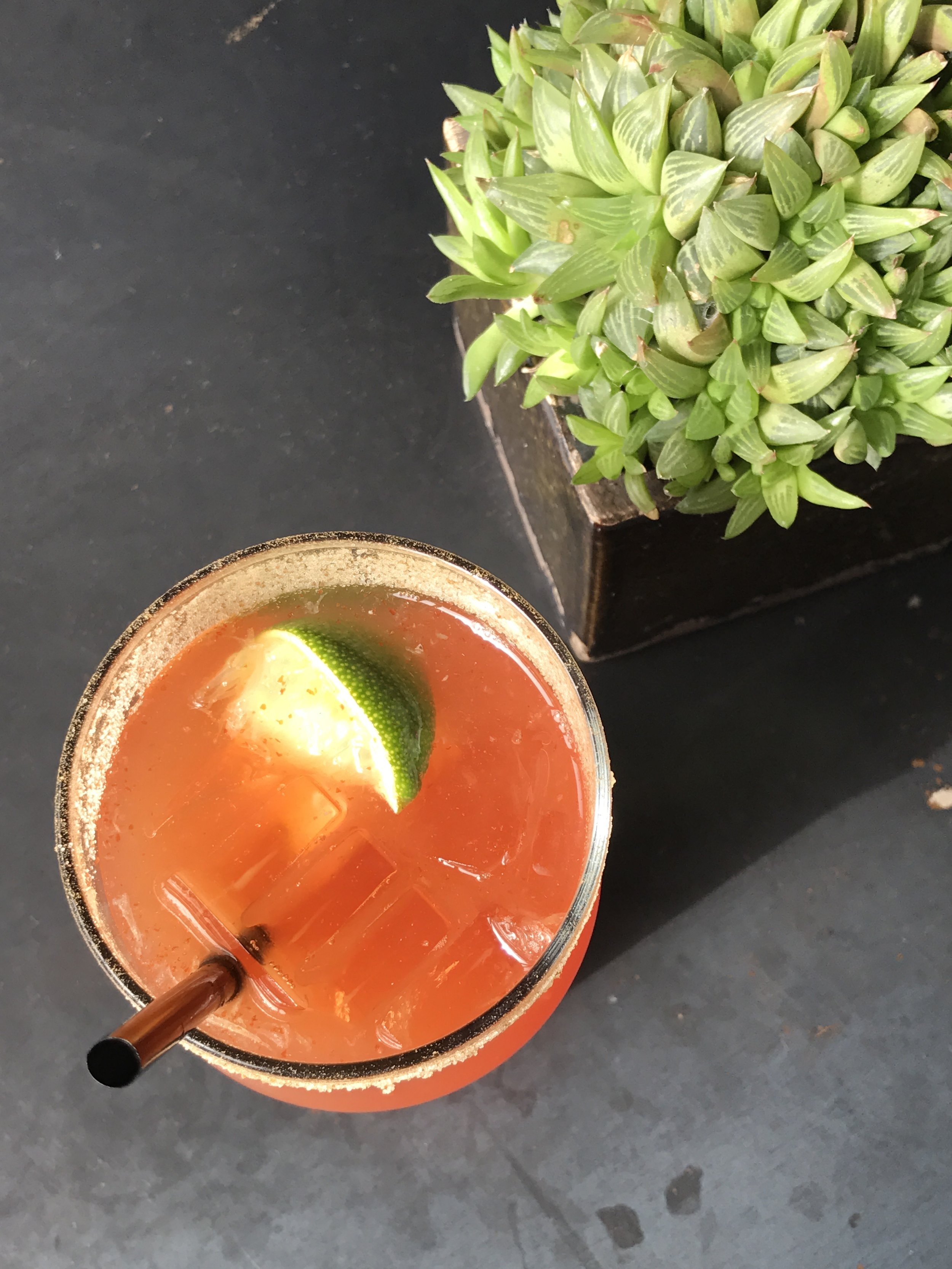 Bloody Beer - spiced tomato spiked lager, ice, celery salt rim
