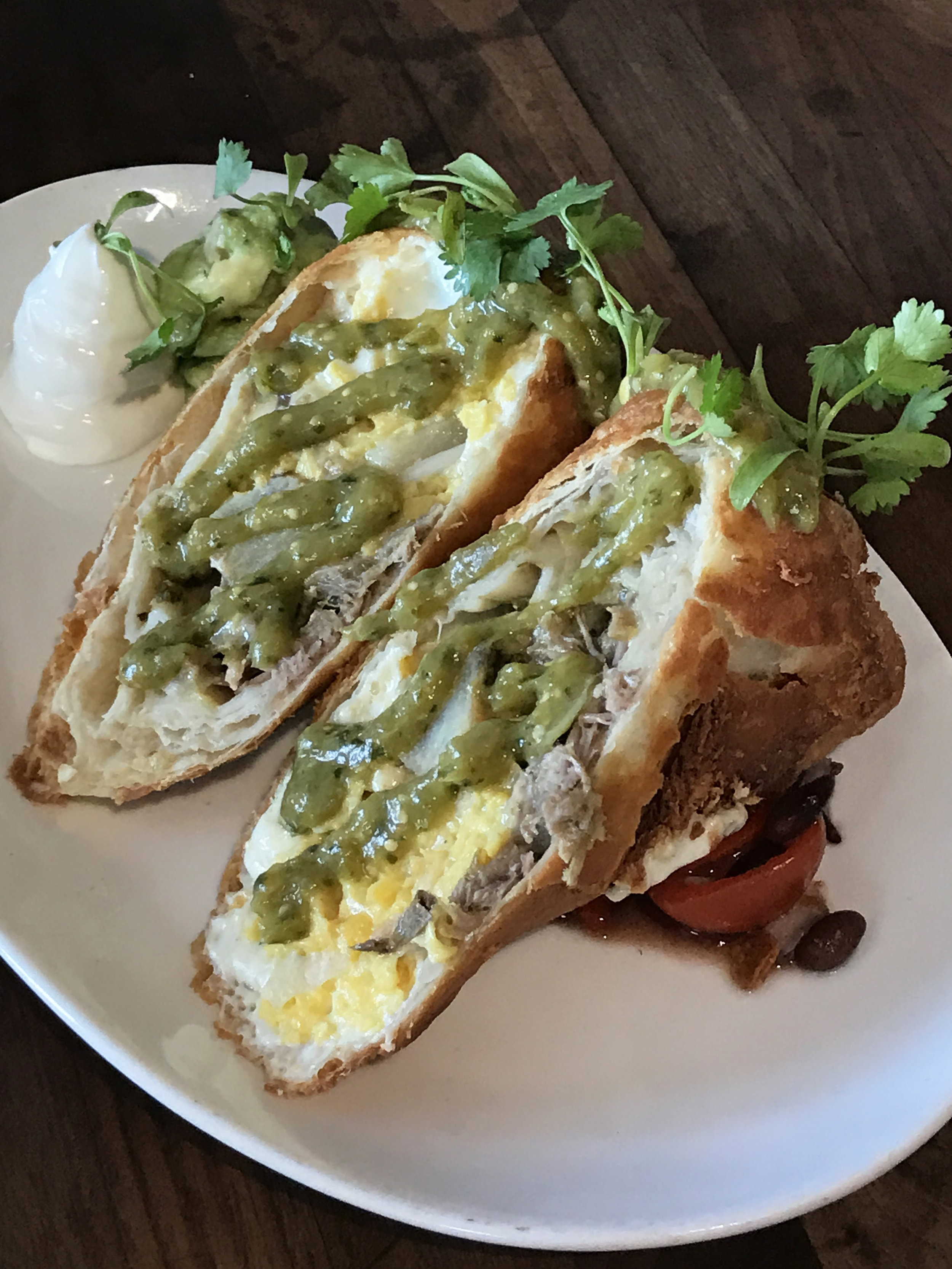 Chimichanga with scrambled egg, salsa verde pork, and pepperjack
