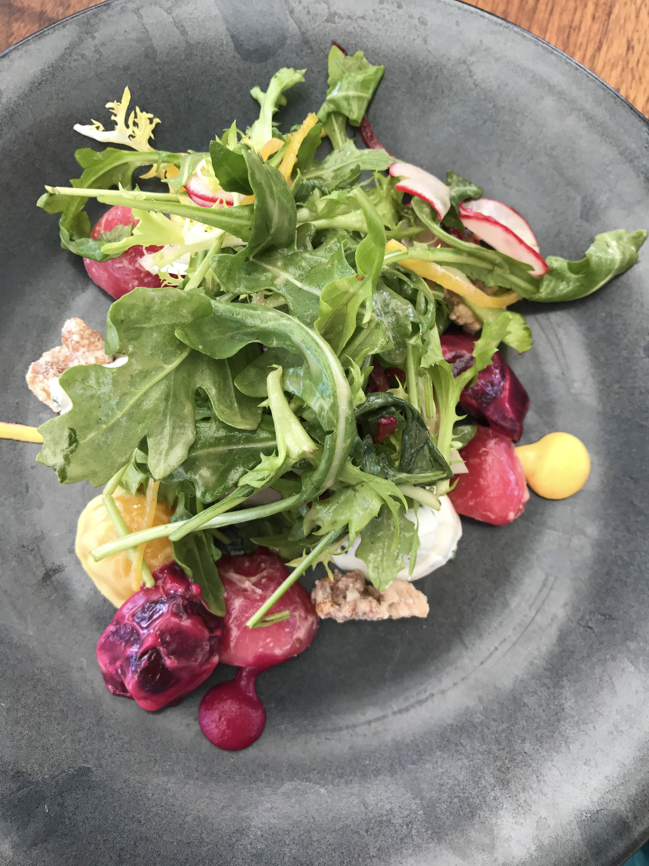 Roasted tri-colored beet salad with goat cheese and candied walnuts
