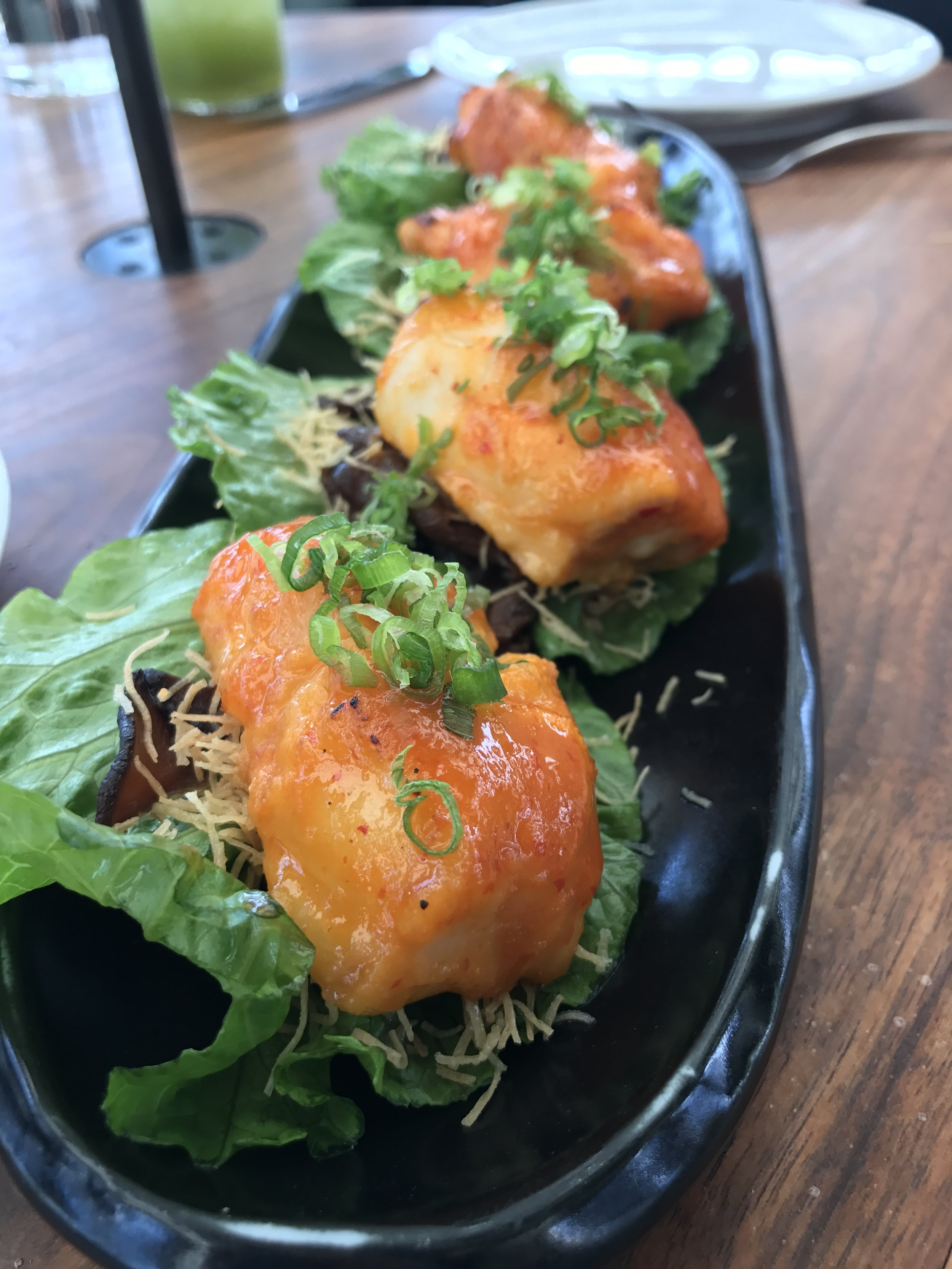 "Black Cod Lettuce ""Wraps"" with bourbon-miso, kataifi, shitake mushrooms"