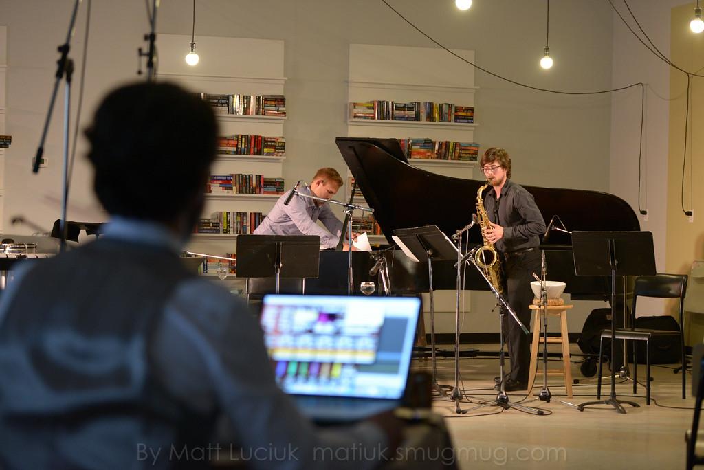 Gordon Fitzell, Jared Tehse and Tommy Davis at the Strata New Music Festival (2014), Saskatoon, Canada.  Metropolis by Gordon Fitzell