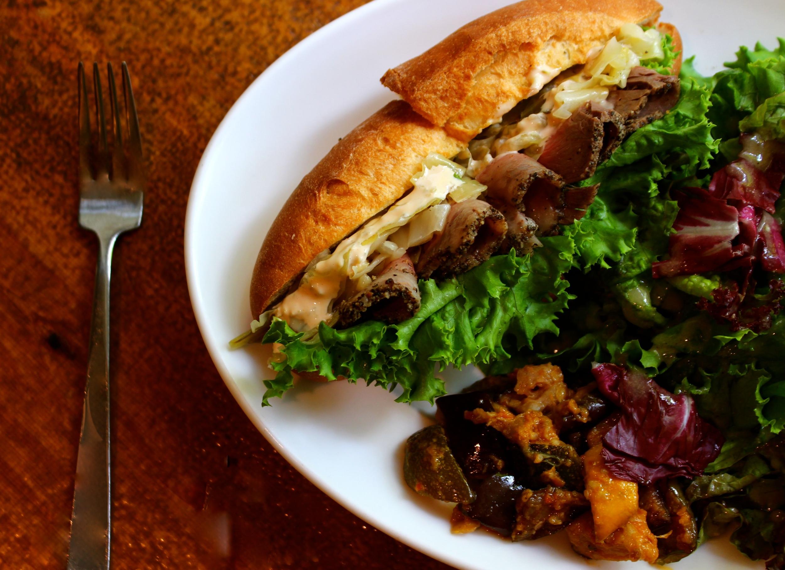 8th Anniversary Special menu : Soft-Baguette Sandwich with Beef Pastrami & Sauerkraut.