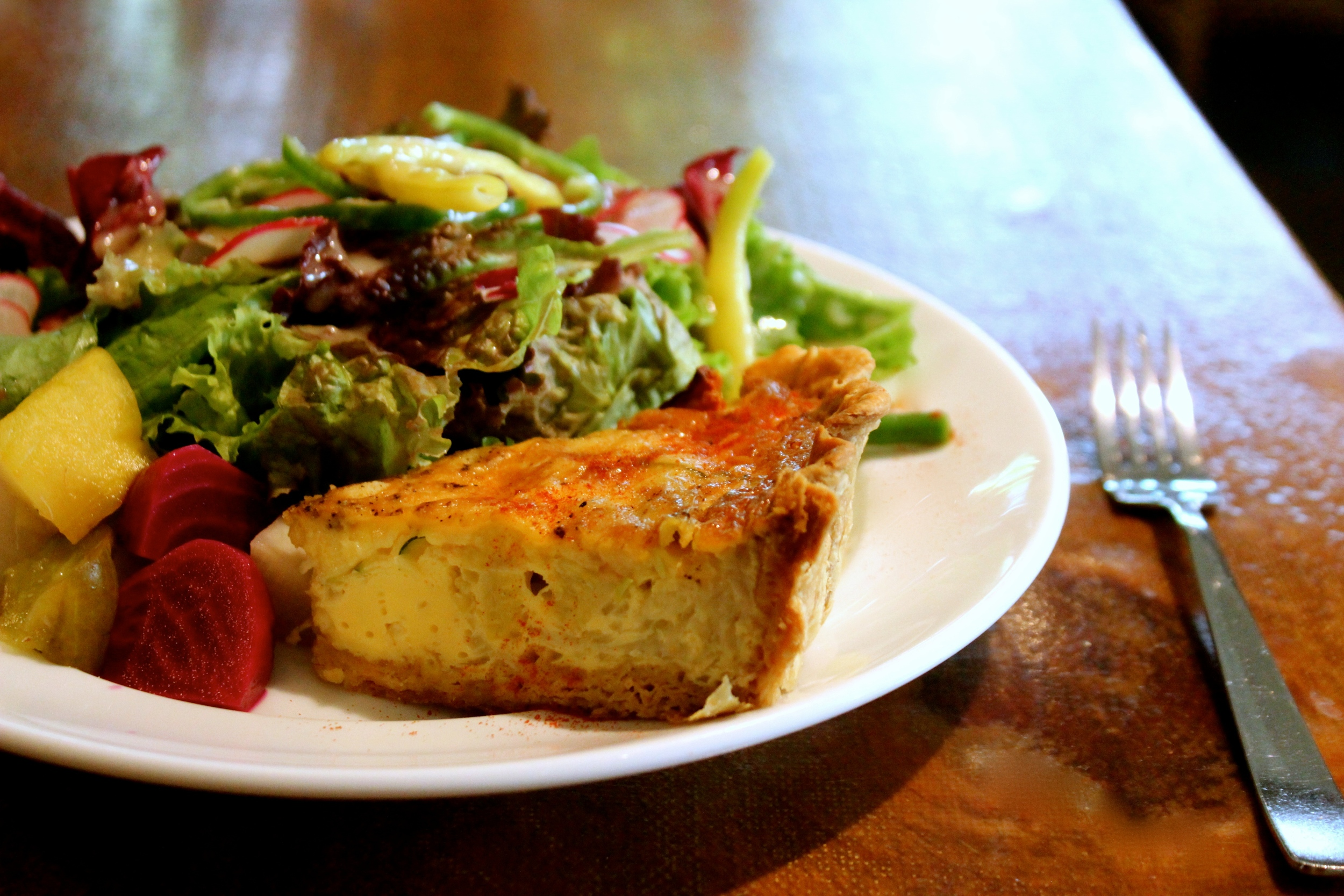 8th Anniversary Special menu:Homemade Quiche with Organic Summer Vegetables.