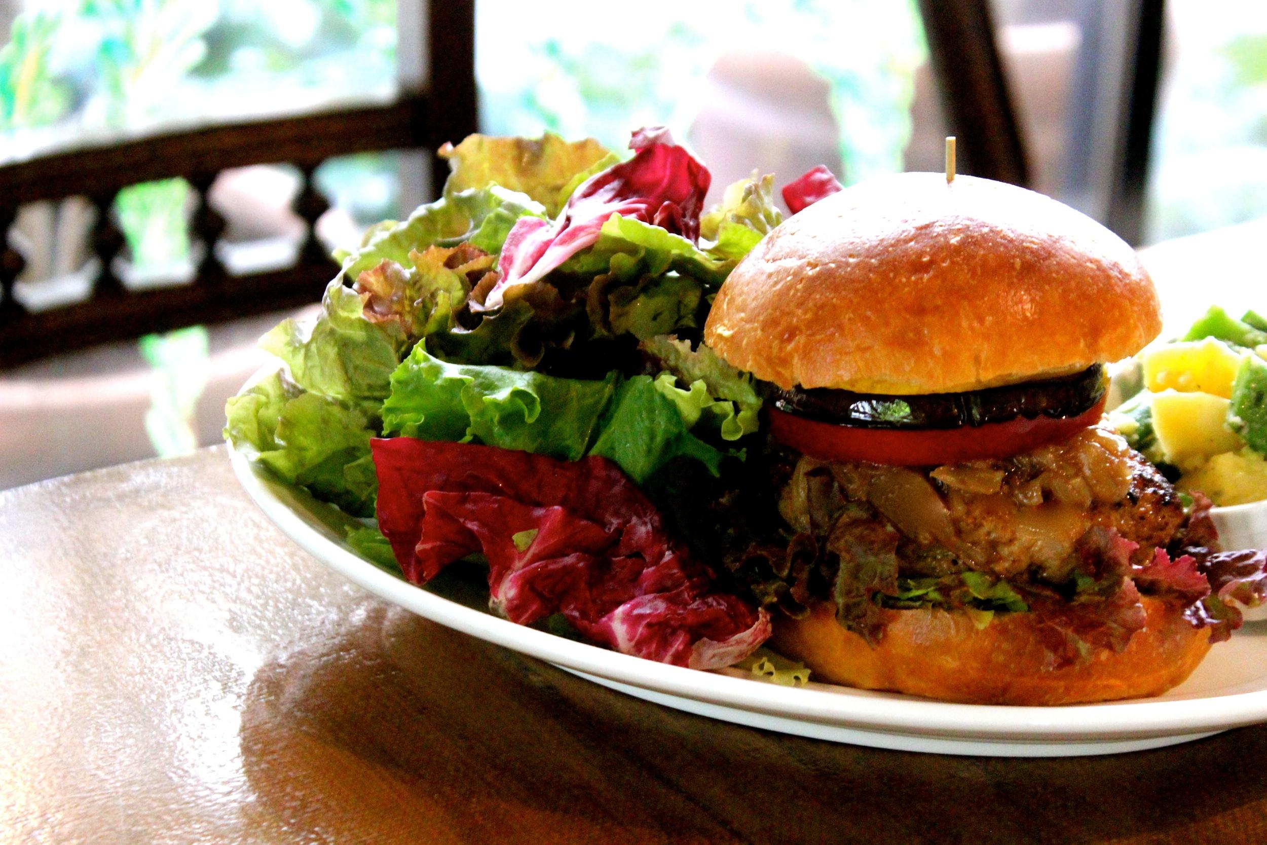 8th Anniversary Special menu:Duroc Form Pork Burger with Tomato, Egg Plant, Zucchini, Caramel Onion & Balsamico