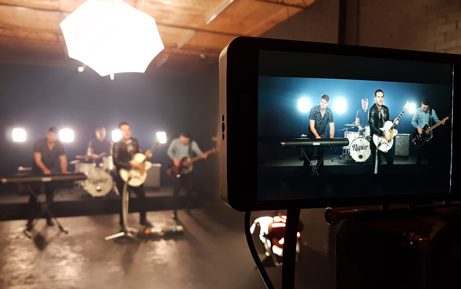 Napier music video shoot in the black Studio 2