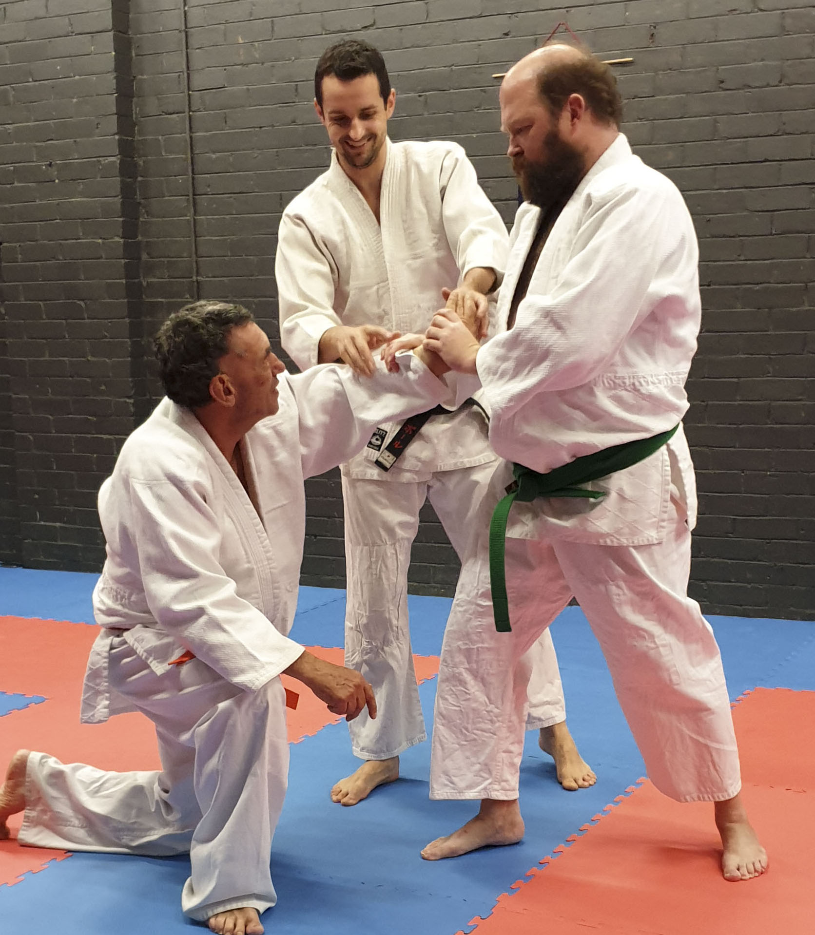 Sensei Paul teaching students wrist lock techniques