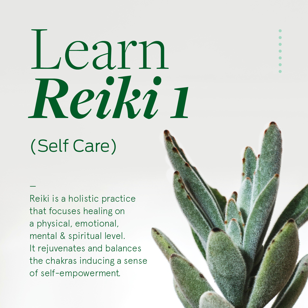 Learn Reiki 1 - What you will receive:A Reiki 1 manual and certificateMorning and afternoon teaWhat you will learn:About the Reiki Process – from level one to masters.What Reiki isThe History of Reiki - Dr Mikao UsuiThe 5 principles of Reiki.The attunement and cleansing processThe energetic system - ChakrasGroundingProtectionCleansingAbout our thoughts & IntentionsHow to meditate/ different stylesIntuition & the ClairsTreatment processGassho/Self CareHand positions for self careYour Lineage
