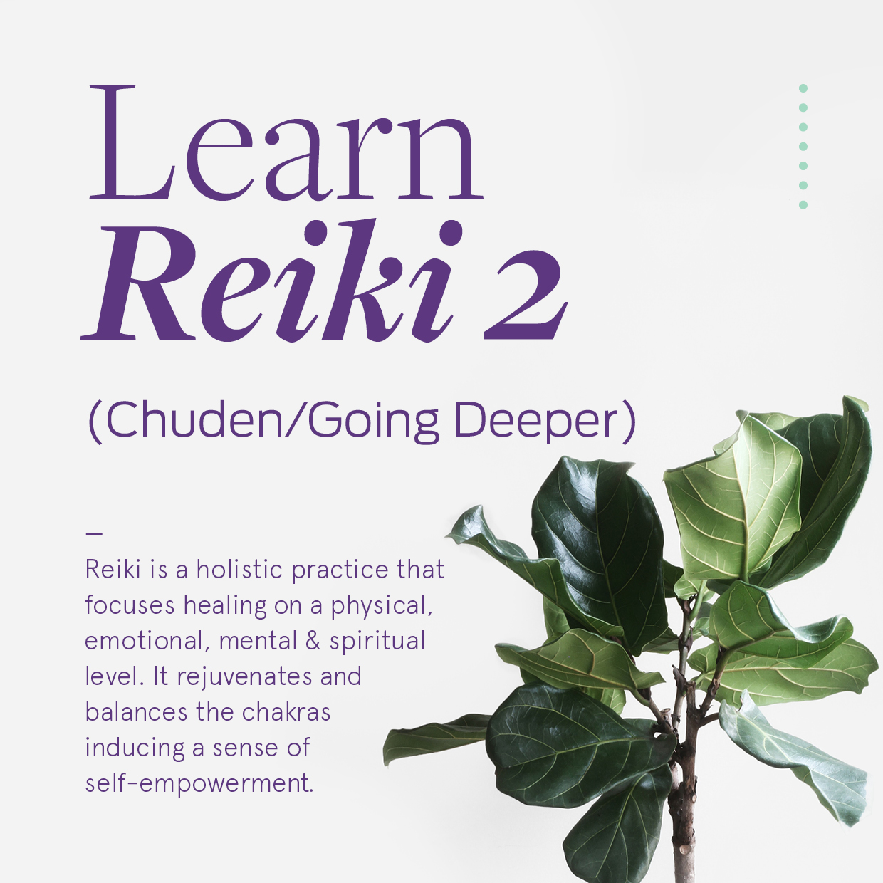 Learn Reiki 2 - What you will receive:A Reiki 2 manual and certificateMorning and afternoon teaWhat we cover:About the Reiki Process – from level one to masters.The science behind ReikiRevisit the 5 principles of Reiki.Reiki SymbolsAbsent/Distant HealingTreatment processIntuitionYour Lineage