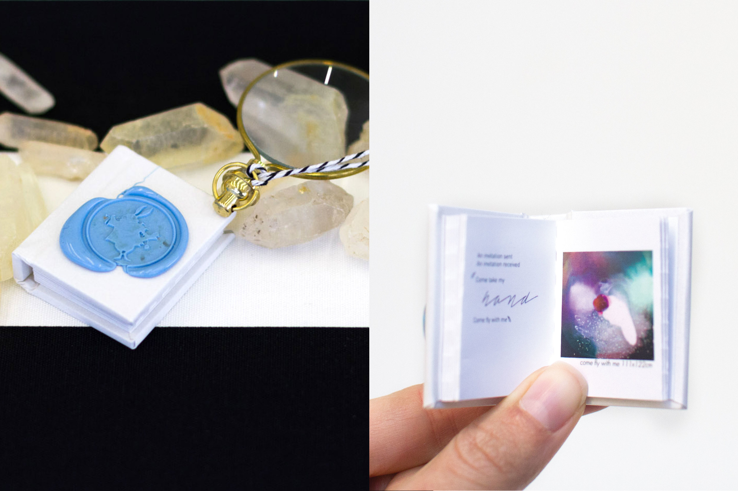Within the invitation a tiny booklet accompanied by a magnify glass and some special treats were gently wrapped in tissue and placed on a bed of small quartz crystal pieces.
