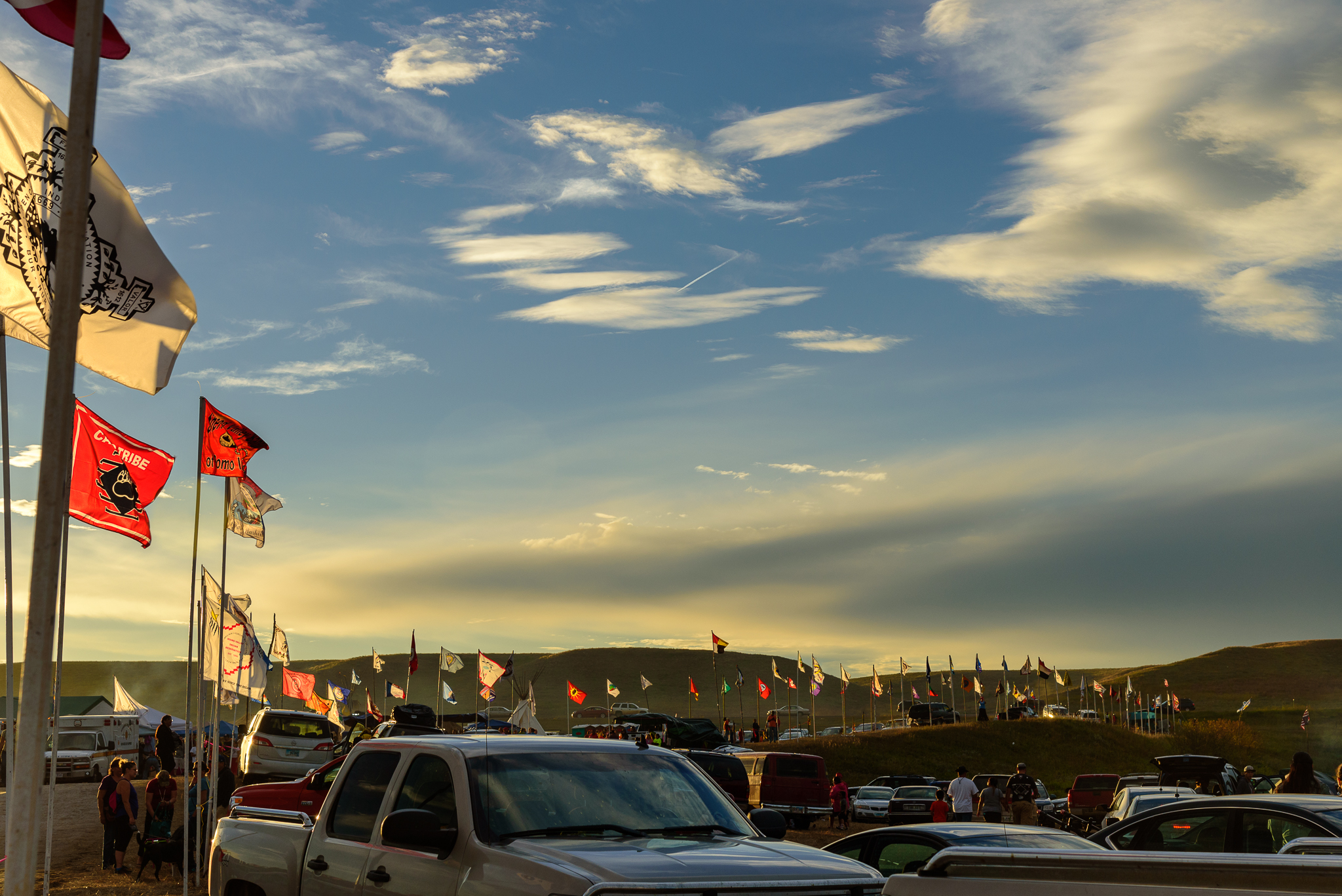 The banners of those joining forces. Standing Rock Reservation Area, ND.