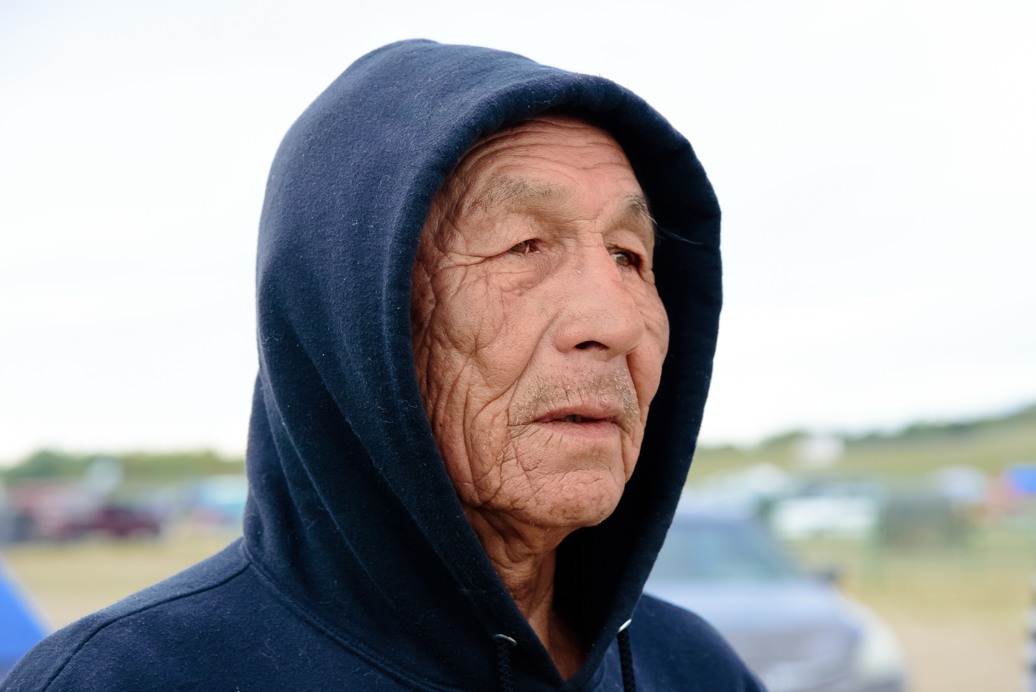 """They told me I met a Chief. When I asked Featherman how long he was staying, he responded """"until the snow flies."""" Standing Rock Reservation Area, ND."""