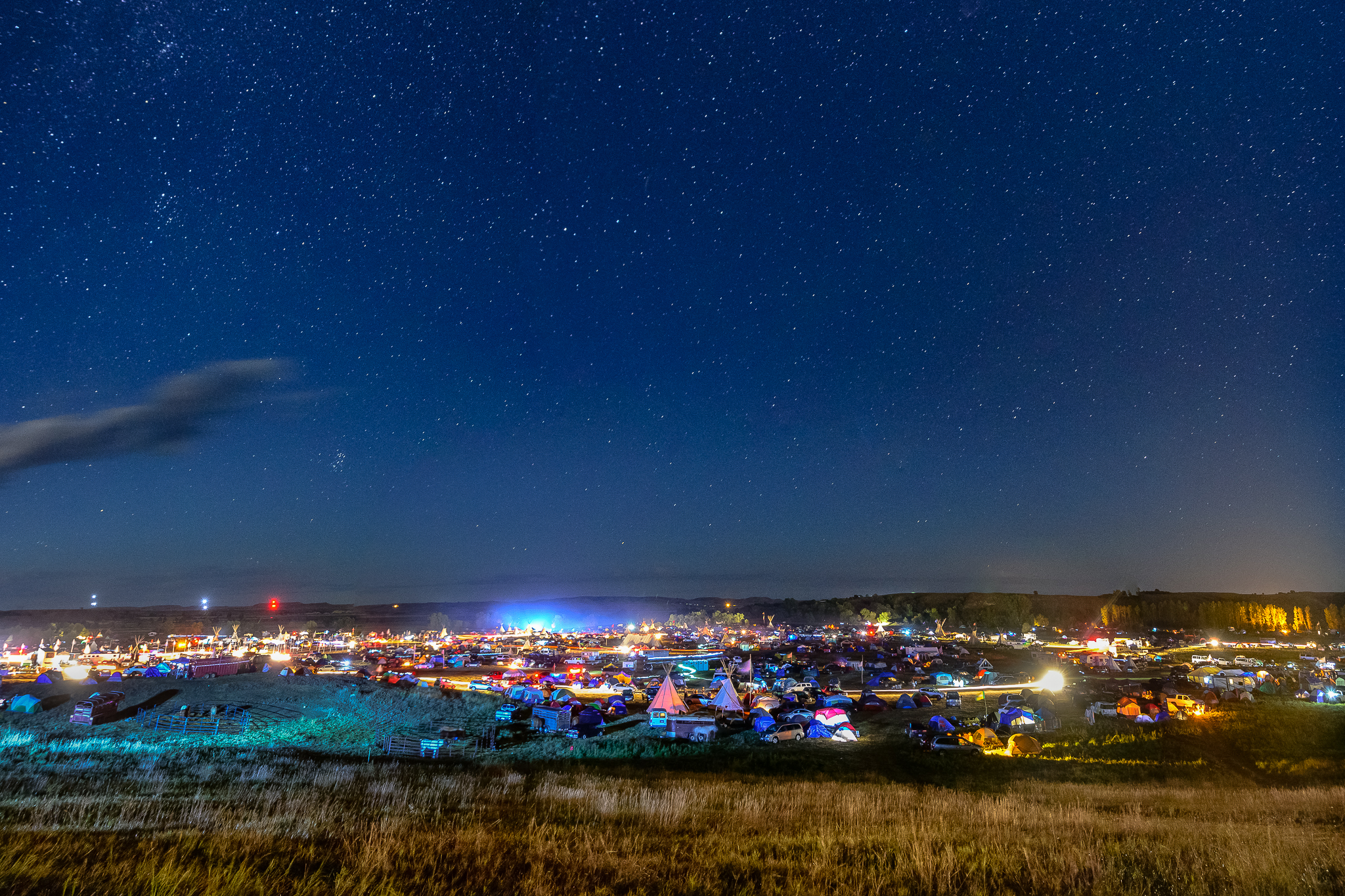 The buzz of arriving on a Friday night. Standing Rock Reservation Area, ND.