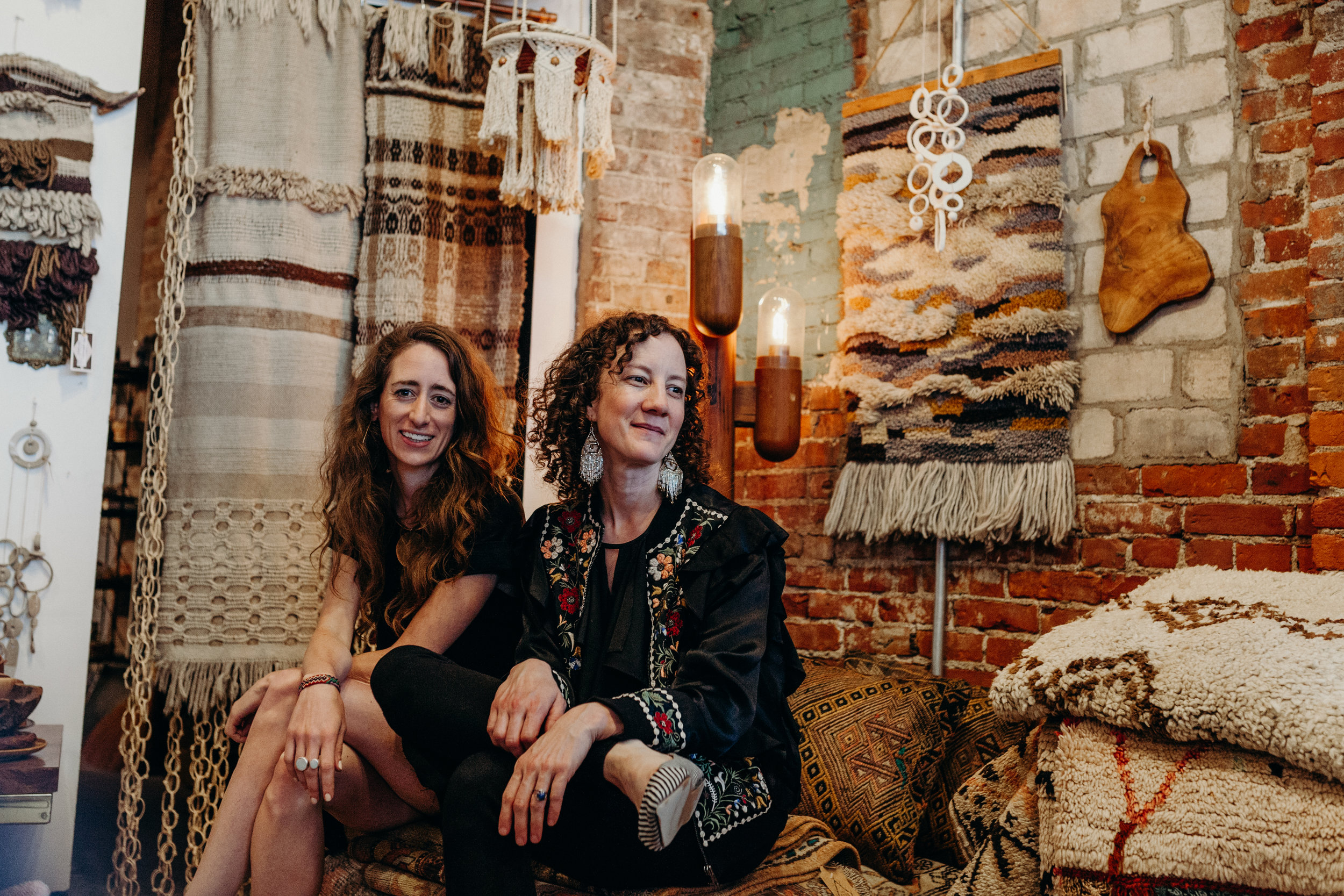 Hosting Local Women Pop Ups in Eldorado since 2014 / Erin Gavle with Annie from The Good Rug / Photo by  Lydia Cournoyer Photography