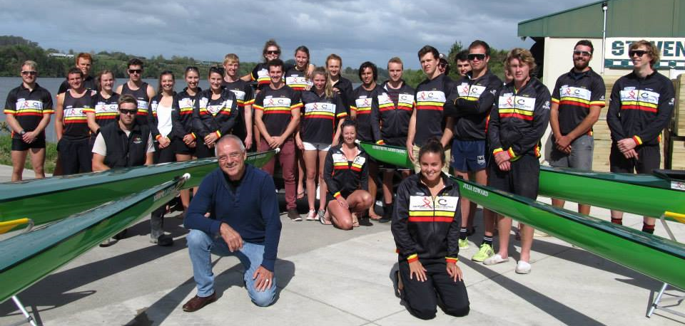Introductory boat naming with Waikato RPC squad of 2013/2014