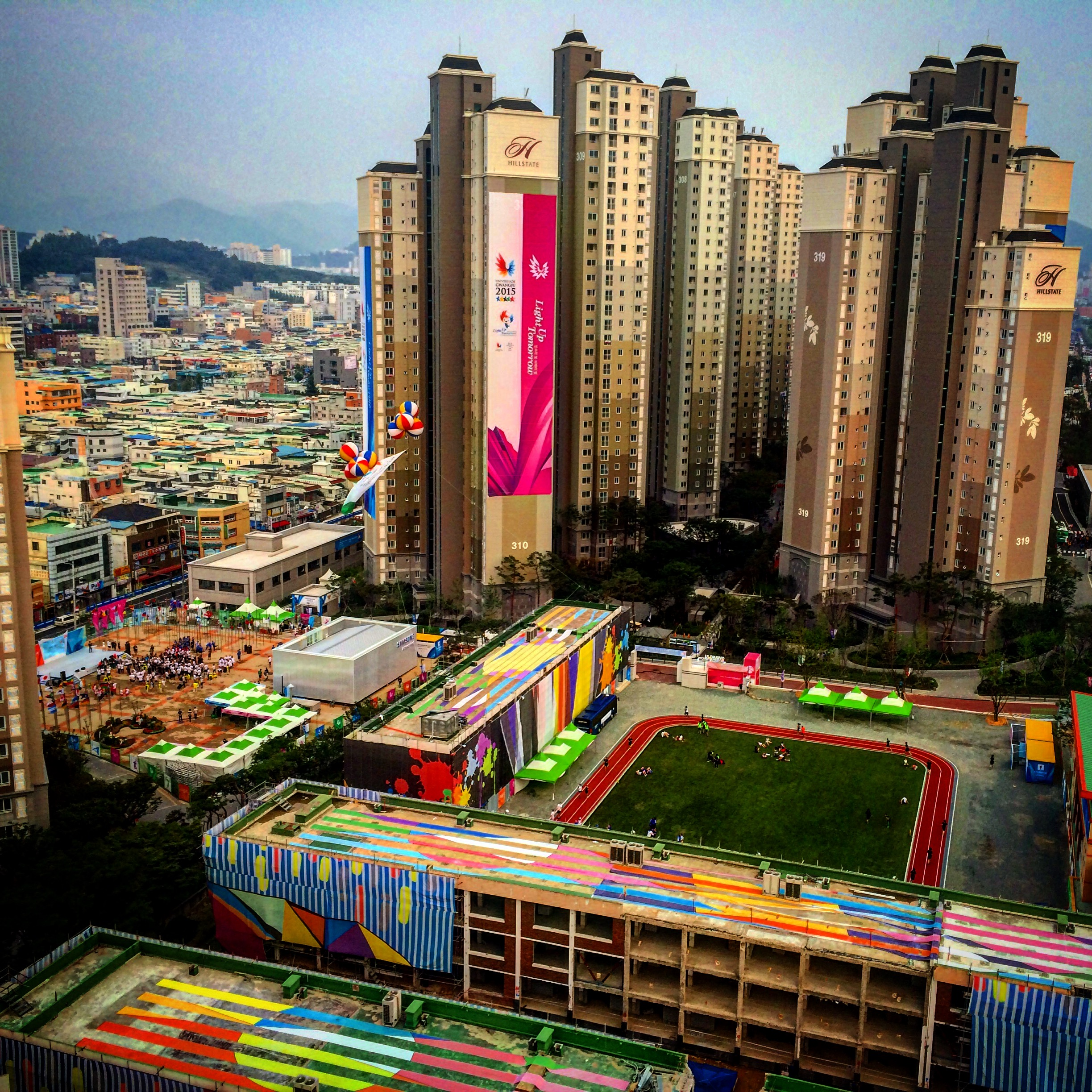 Shot of the main athletes village from NZ's floor (20th of 20) of accomodation block 318